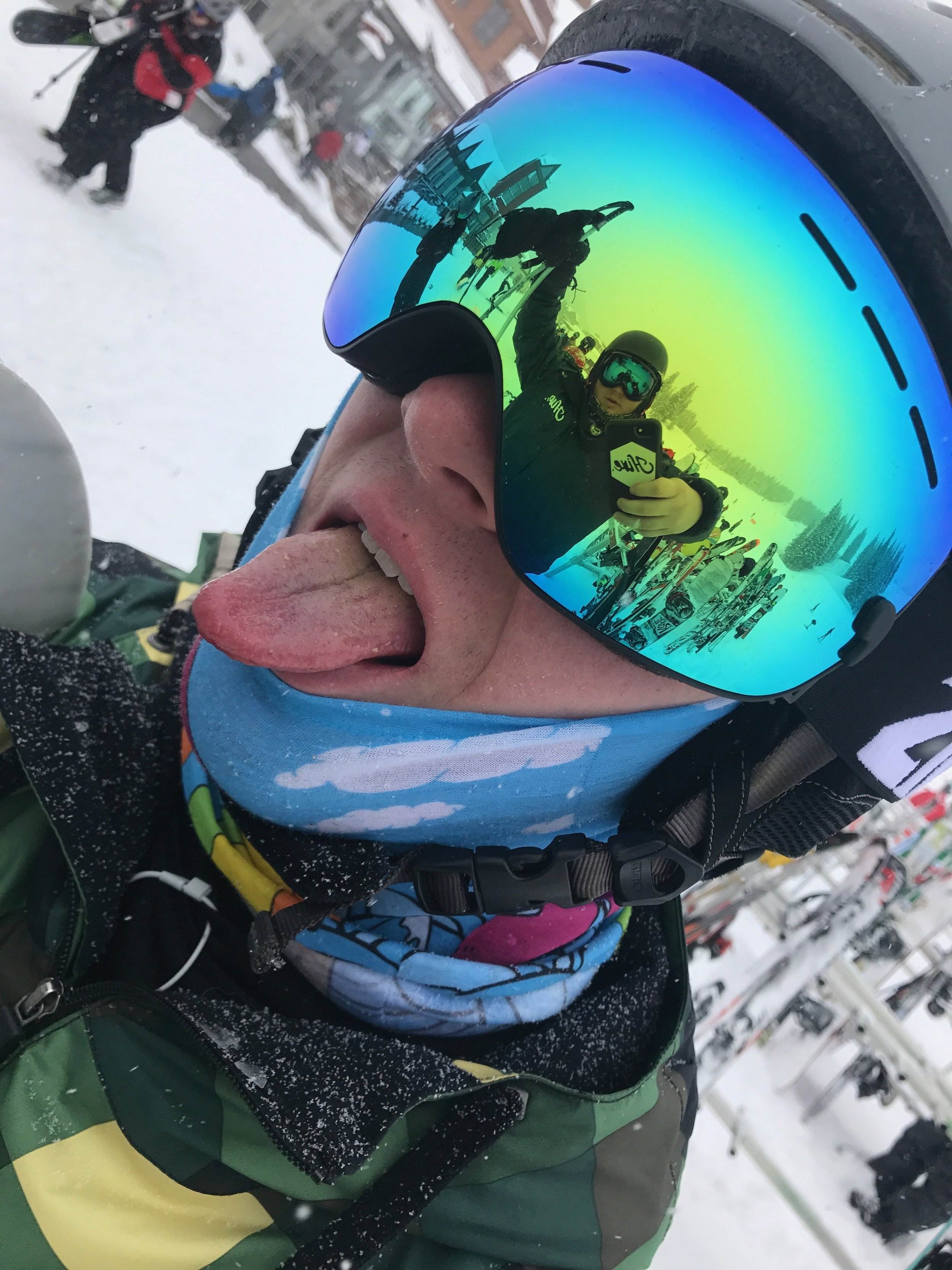 Cole Ehresmann takes a picture of his reflection in his friend's goggles.  Image: Cole Ehresmann