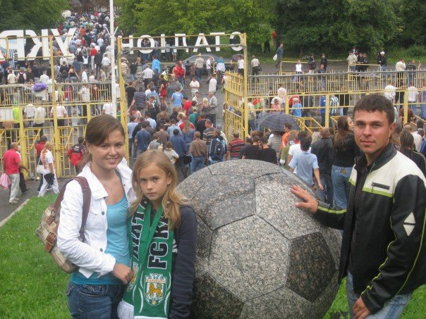 My first time visiting Ukraine at an FC Karpaty Lviv soccer game in 2007. I am with my sister Maria Bobel (left) and my cousin Yura Zinko (right). Photo courtesy of Roman Bobel.