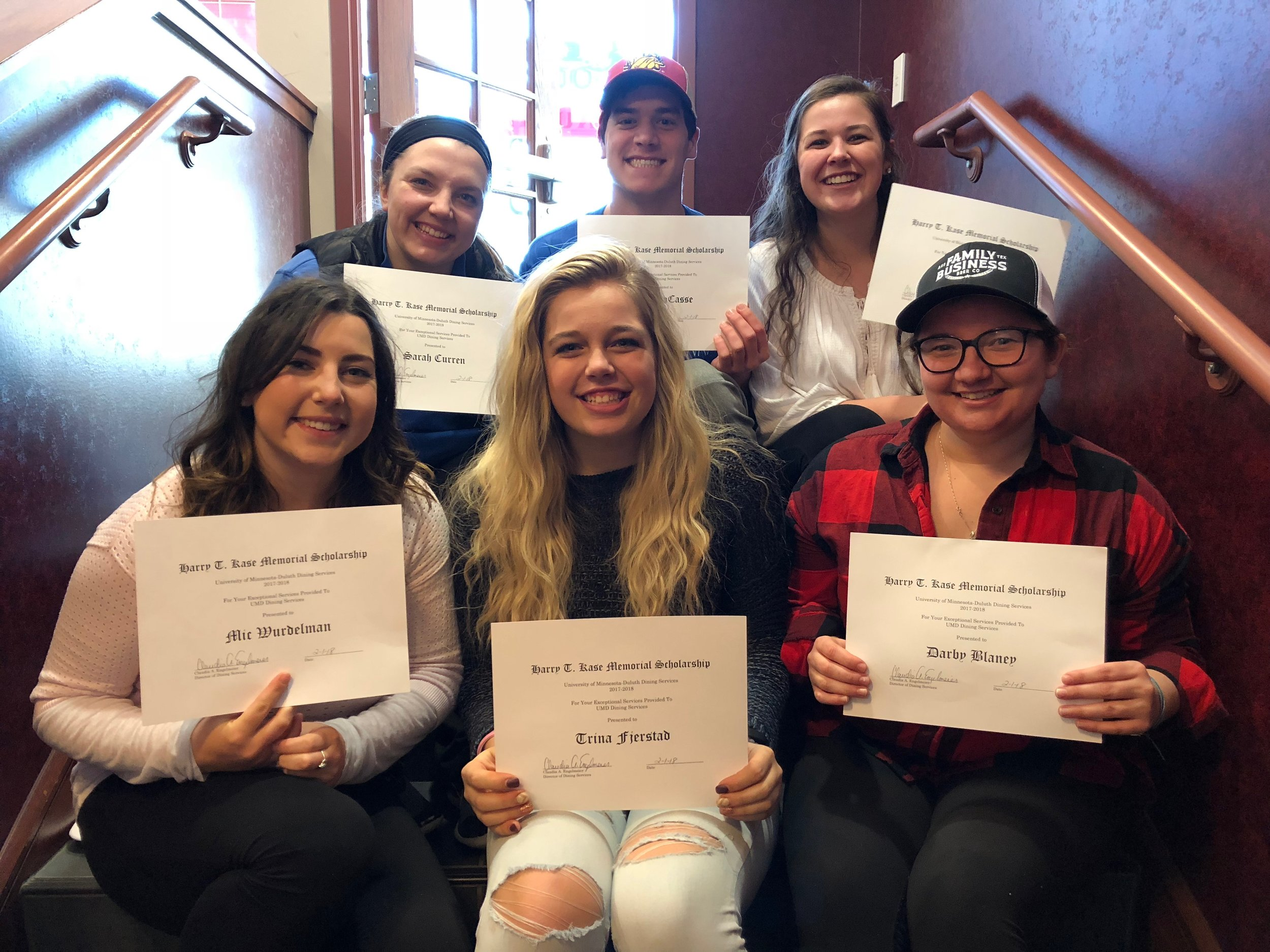 UMD students proudly display their scholarships.  Back row, from left to right: Sarah Curren, Matt LaCasse, Ellie Strafelda Front row, from left to right: Michaela Wurdelman, Trina Fjerstad, Darby Blaney Photo by: Krista Mathes