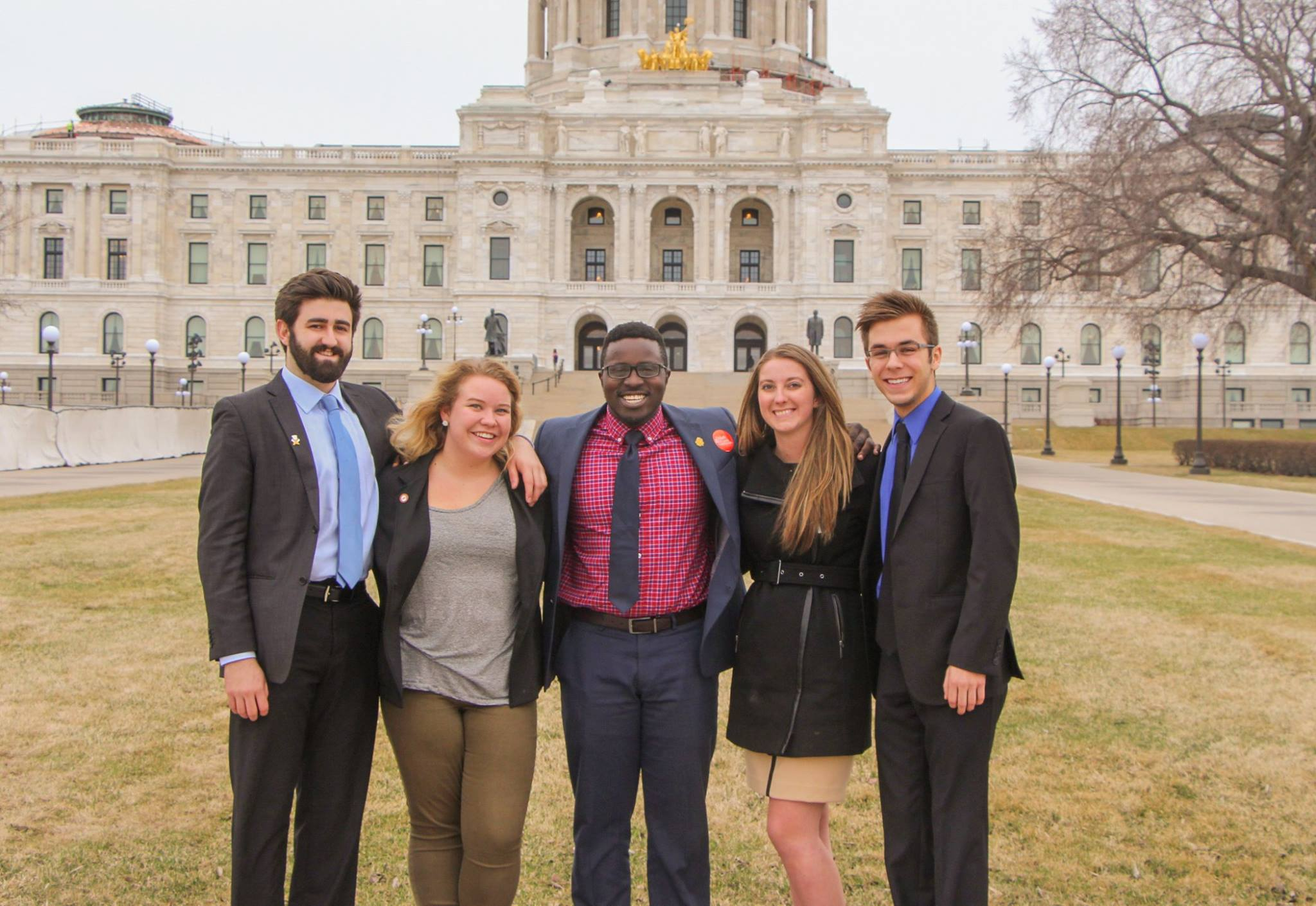 UMD SA members at the Minnesota State Capitol in 2017. From left: Mitchell Farmer-Lies, Mati Hanson, Mike Kenyanya, Caitlyn Walker and Cameron Lulic. Photo Courtesy of Student Association.