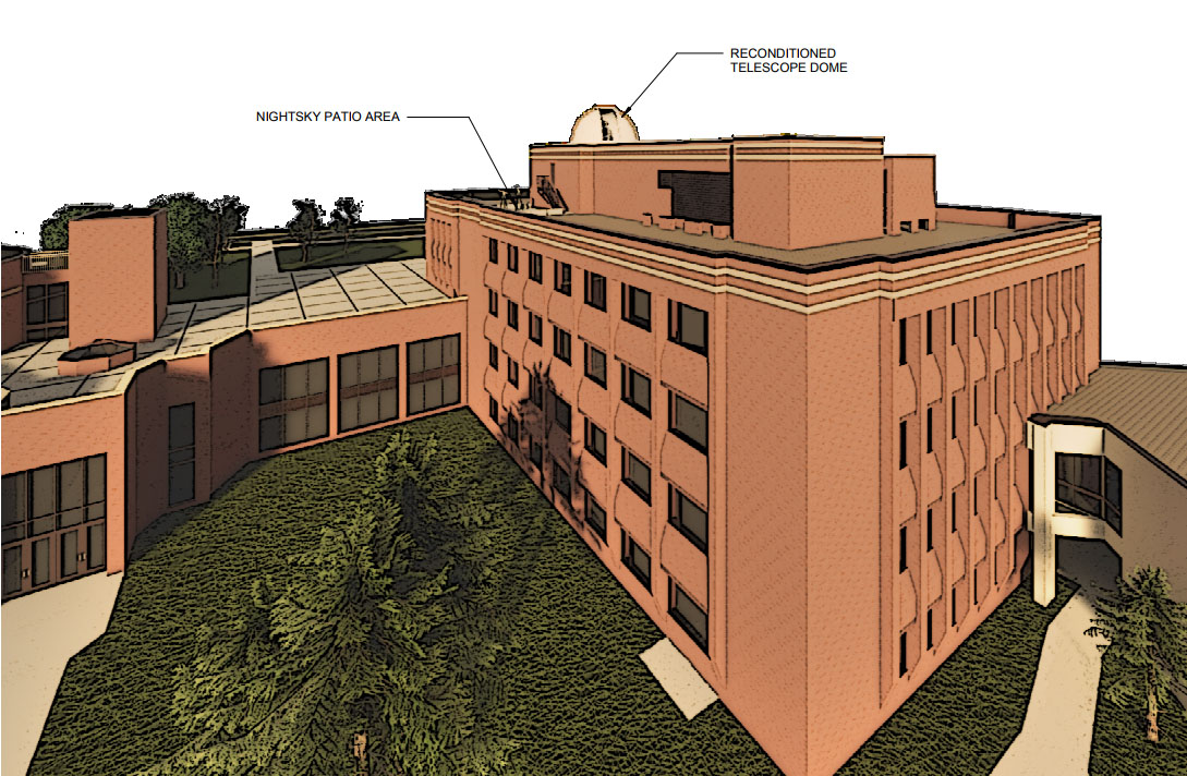 Rendering of the new observatory project atop MWAH. Photo curtesy Jay Austin