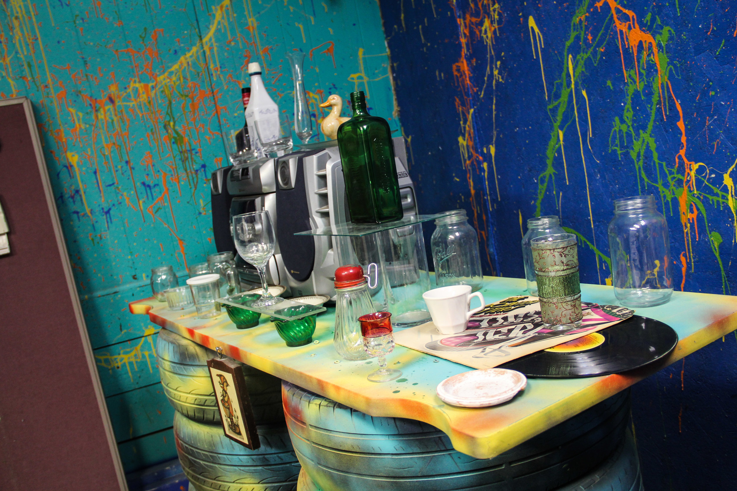 """Breakable items in one of the rooms that are designed for individuals to come in and """"rage"""". Photo by Krista Mathes."""