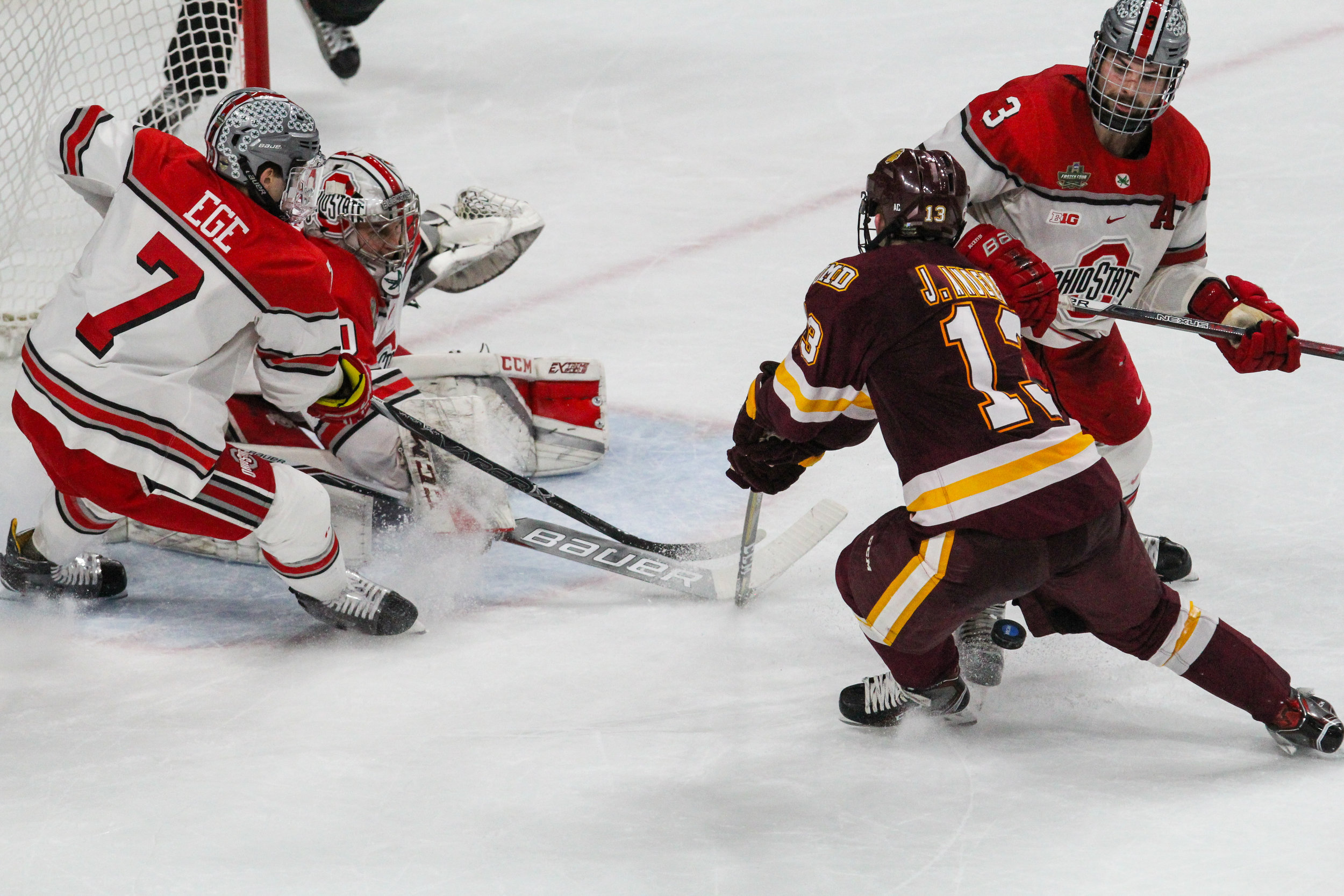 Joey Anderson battles in front of the net. Photo courtesy of Krista Mathes