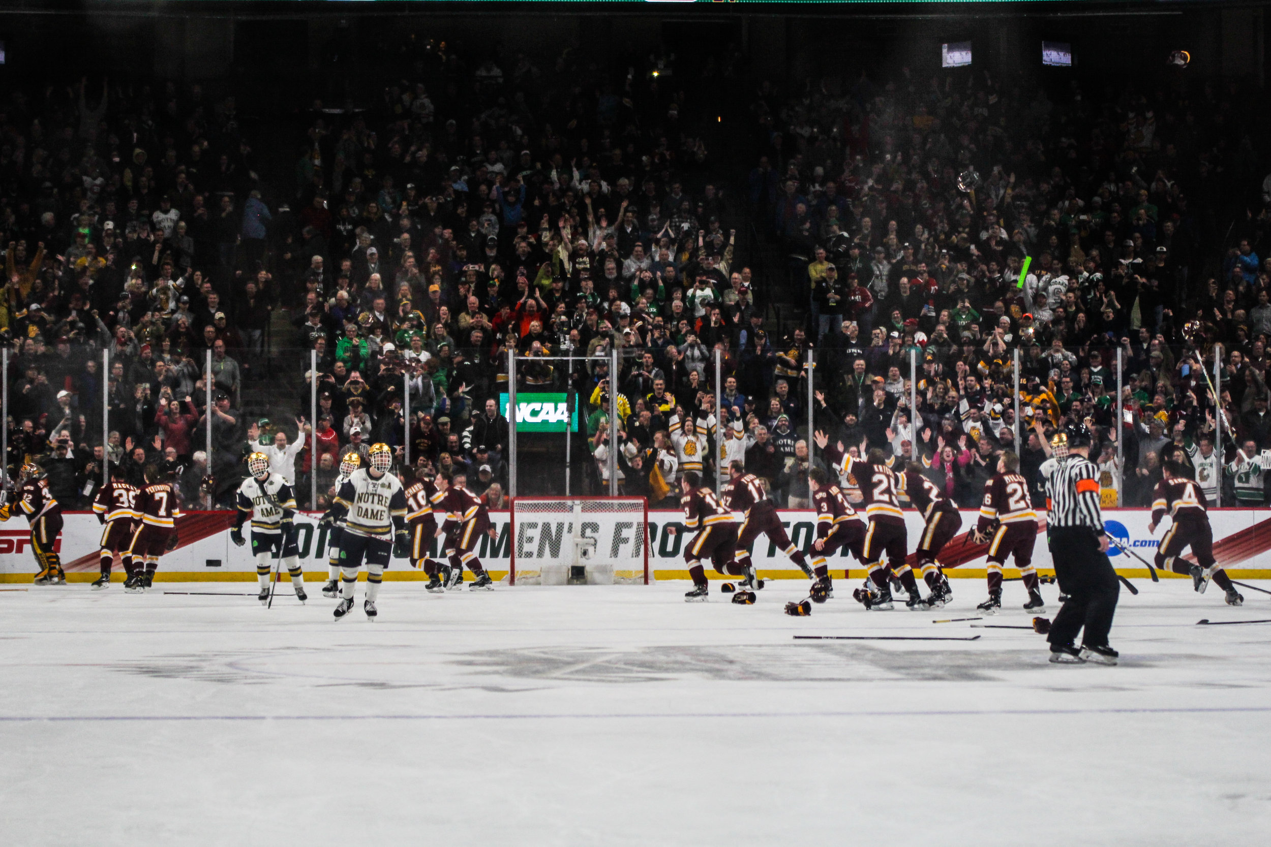 UMD celebrates its second national championship. Photo by Krista Mathes