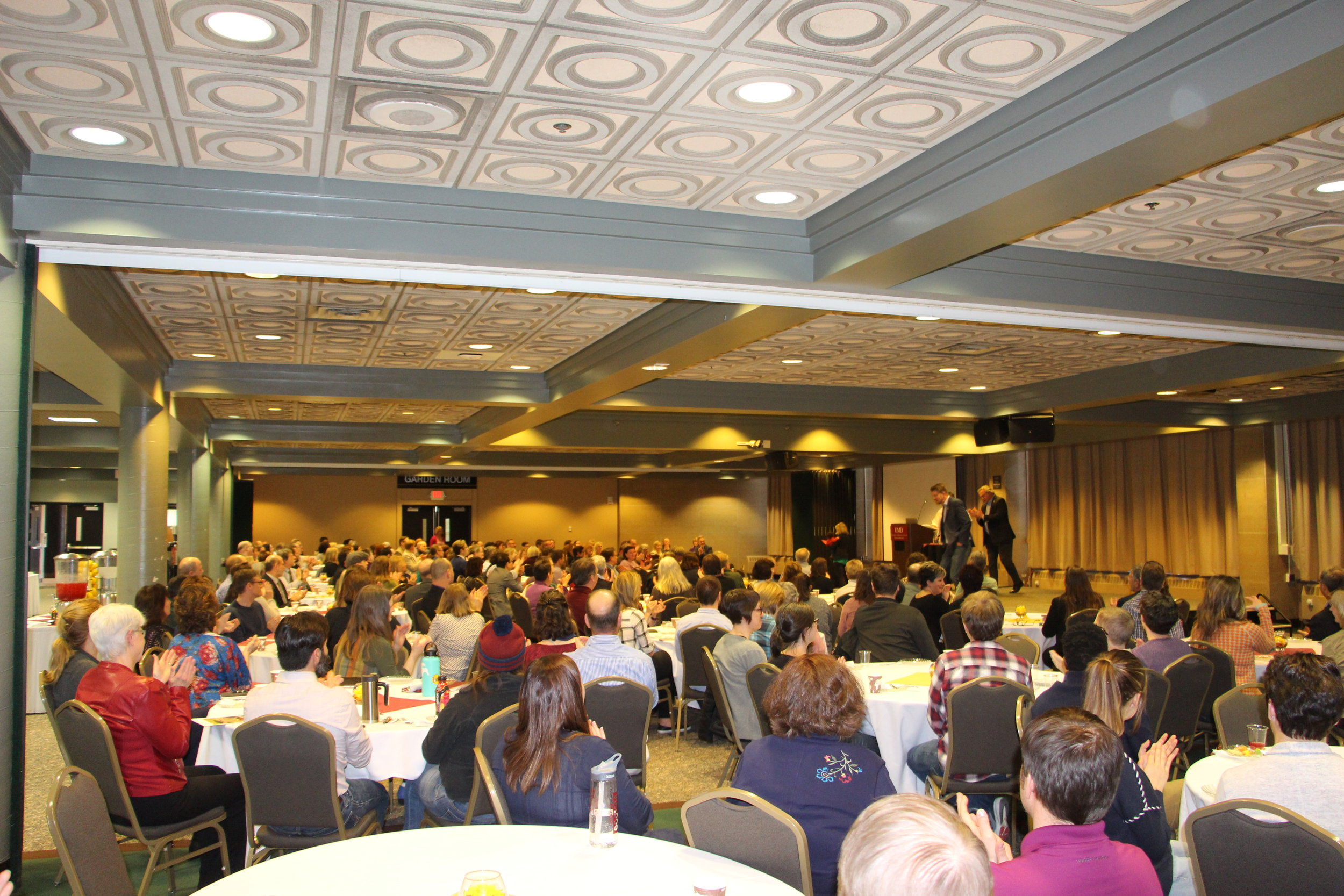 A number of UMD staff and faculty members were honored for their work in front of a packed crowd in the Kirby Ballroom. Photo by Tyler Schendel.