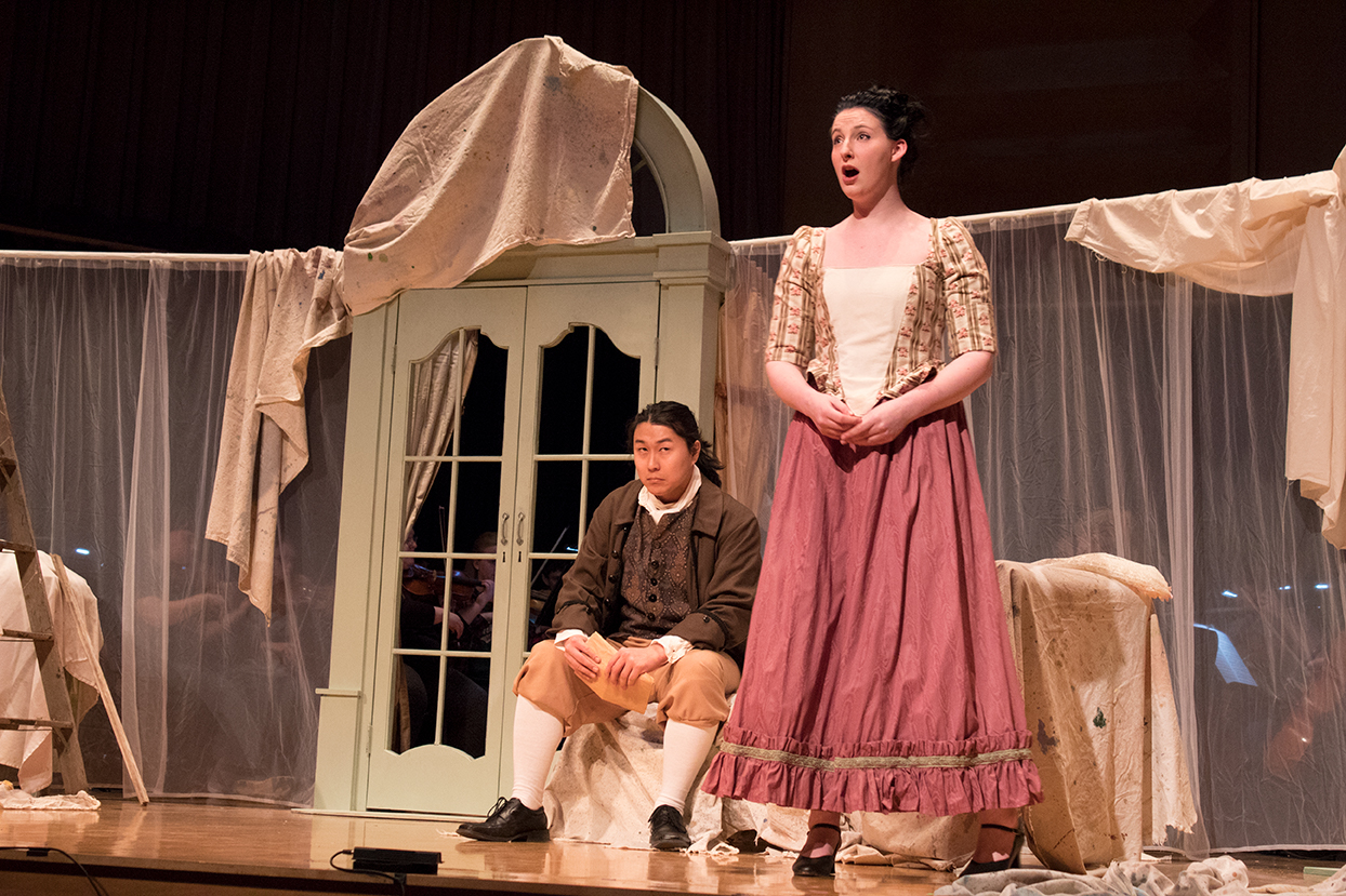 Tanner Barsness as Figaro and Emily Holter as Susanna during rehearsals. Photo by Jakob Bermas.