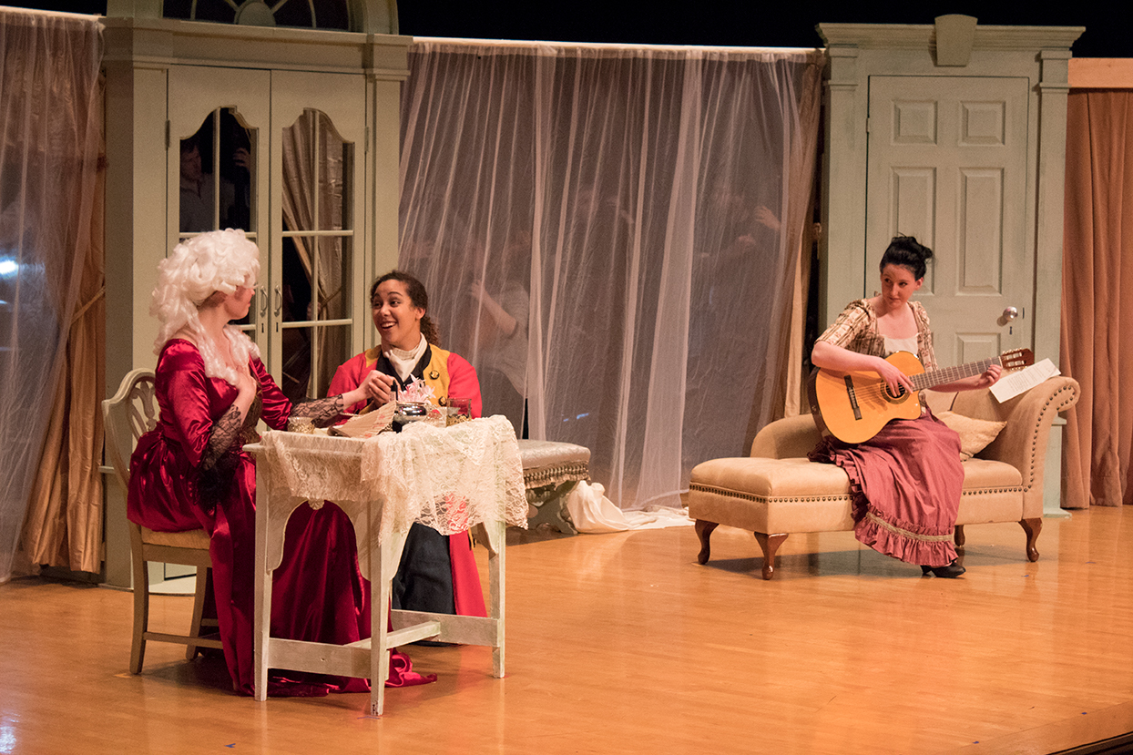 From left to right, Megan Taves as the Countess, Madison Wilson as Cherubino, and Emily Holter as Susanna. Photo by Jakob Bermas.