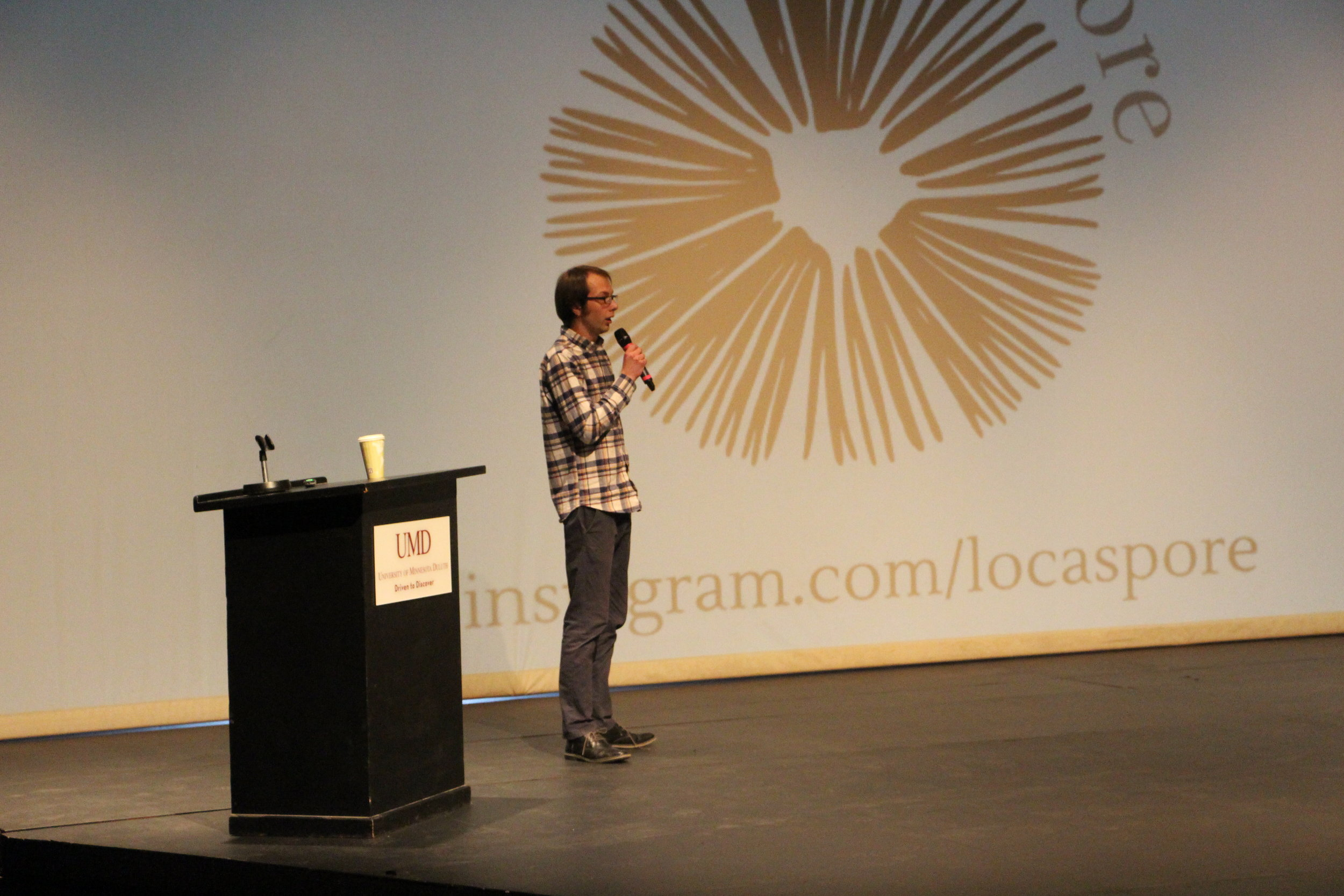 UMD graduate student Kevin Swanberg was awarded $1,500 for his winning idea, Locaspore.Photo by Tyler Schendel.
