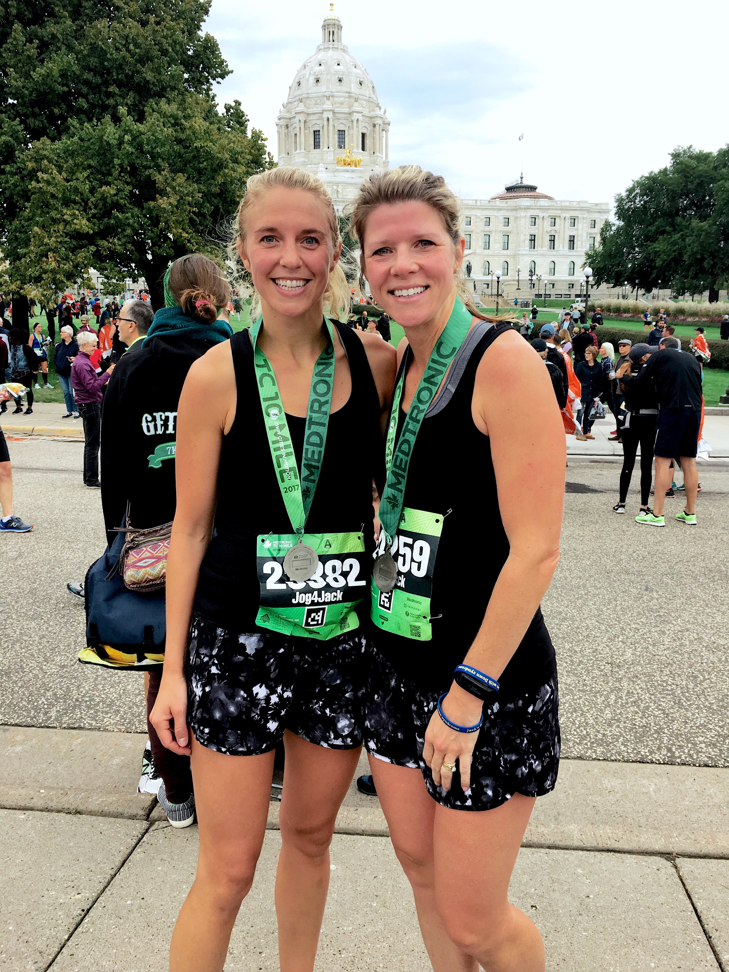 Katie Bjorklund, left, and Carissa Carroll, right, from the Medtronic Twin Cities 10 Mile Marathon in October of 2017.Photo courtesy of Katie Bjorklund