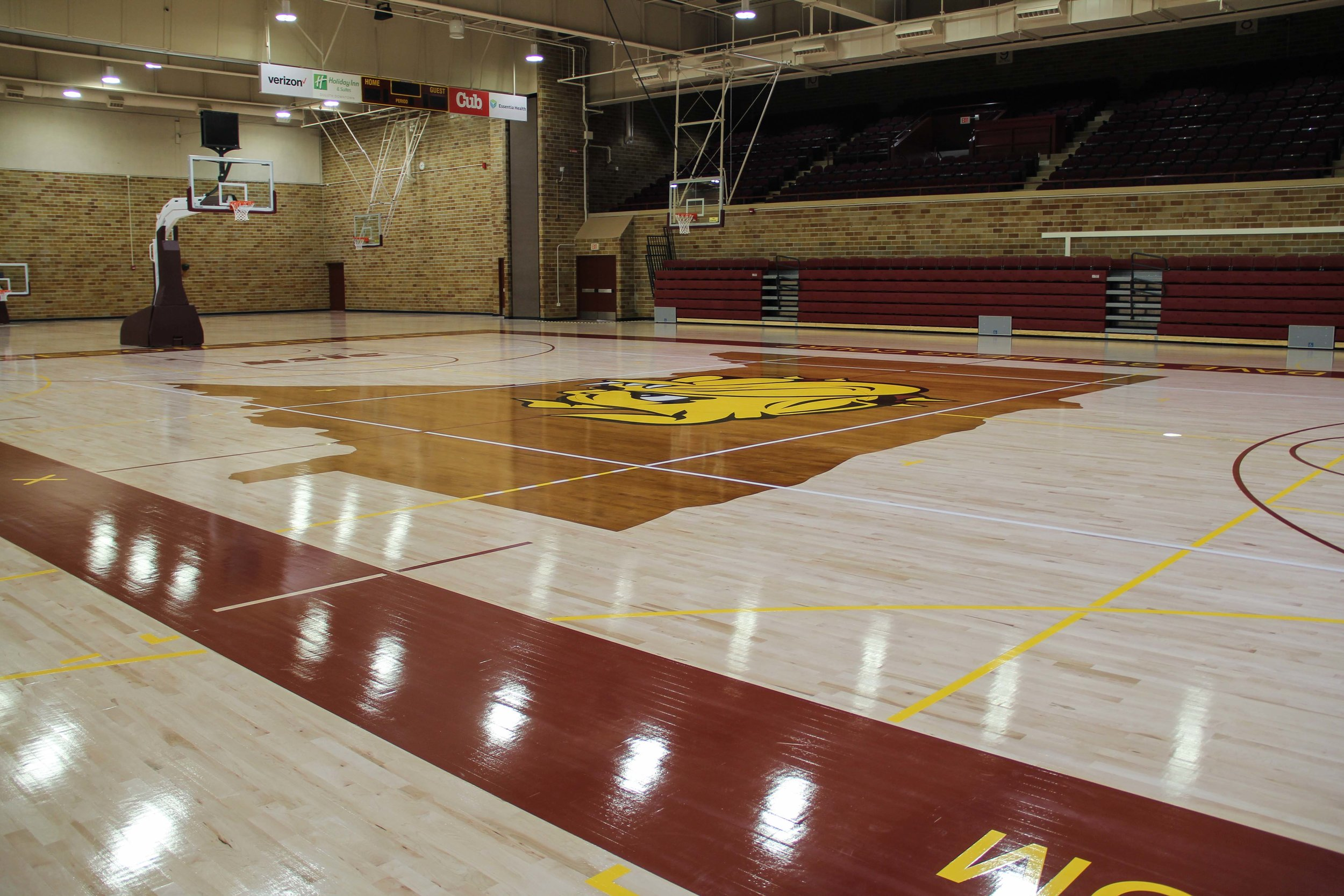 Romano Gym features the same flooring material used by the Minnesota Timberwolves. Photo by Krista Mathes