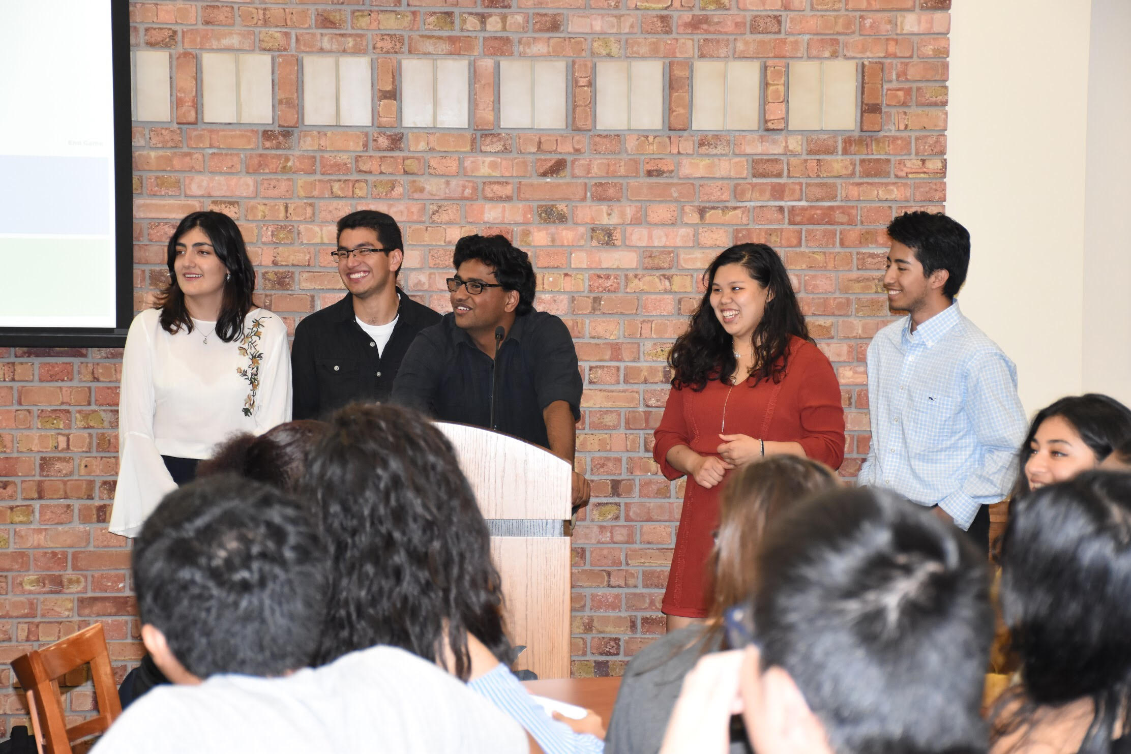 International Club officers left to right. Andrea (Andie) Molano, Anthony Avalos, Vamsi Garghi, Michelle Quach, and Alvaro Velasquez. Photo by Trinh Tran