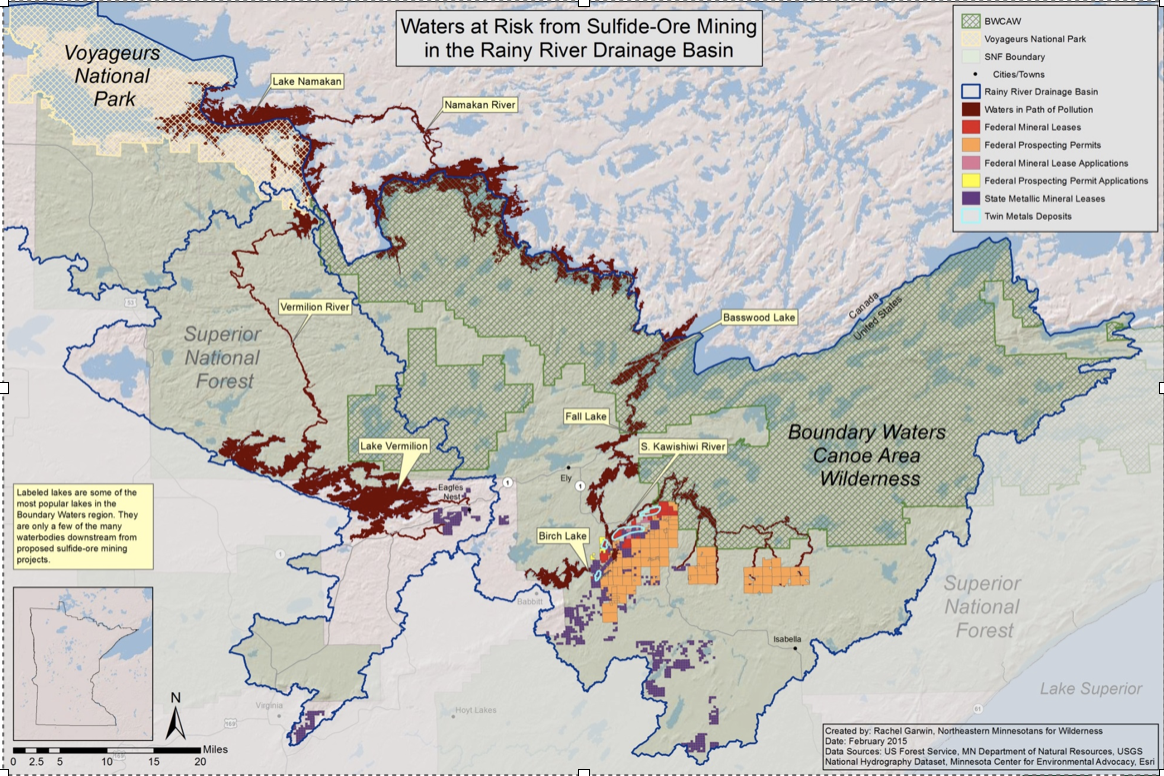 Map showing the waters at risk from Sulfide-Ore Mining in the Rainy River Drainage Basin. Photo courtesy of Save the Boundary Waters.