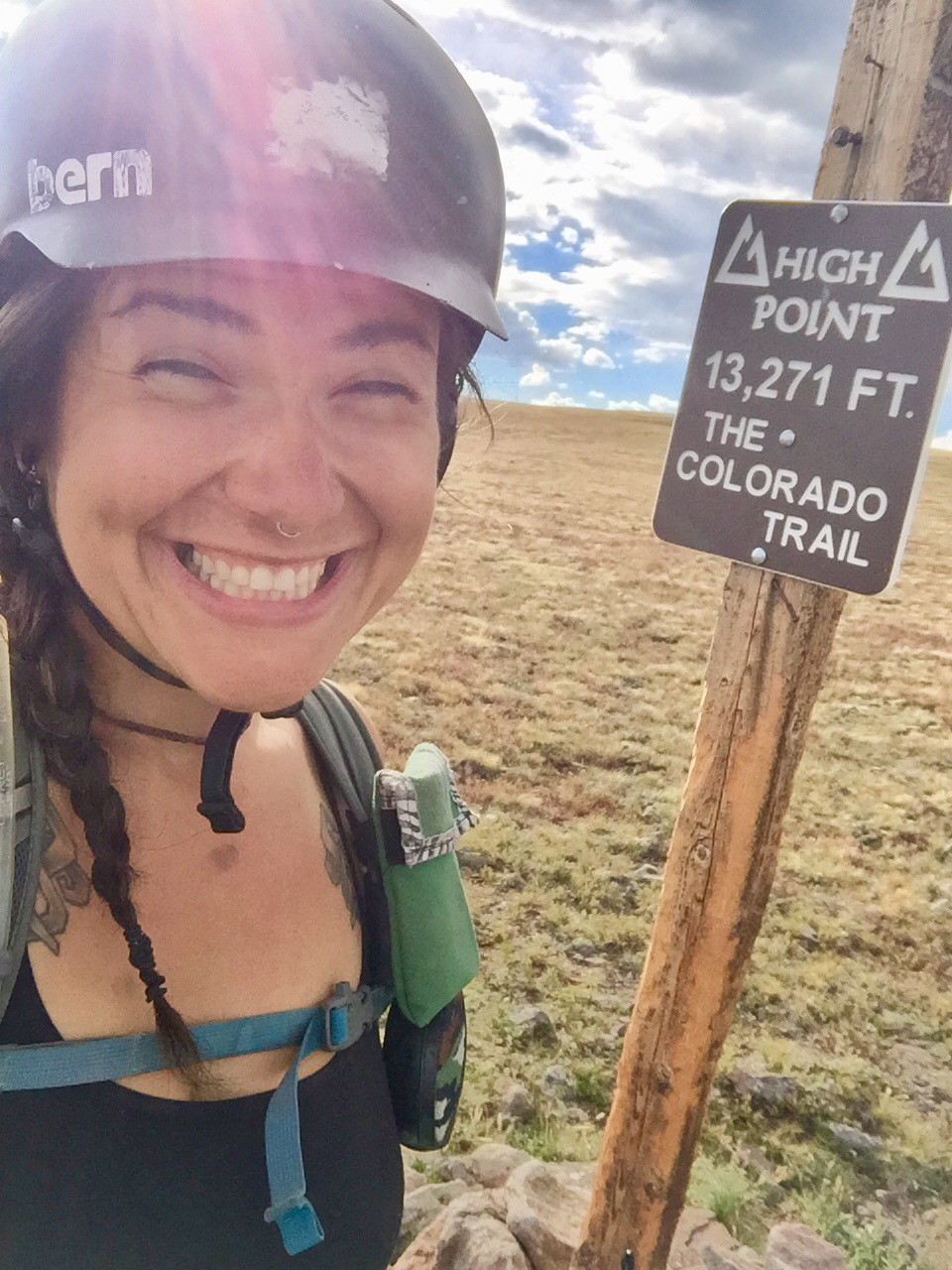 Alexandera Houchin at the highest point of the Colorado Trail outside Silverton, Colorado in July of 2018. Photo courtesy of Alexandera Houchin