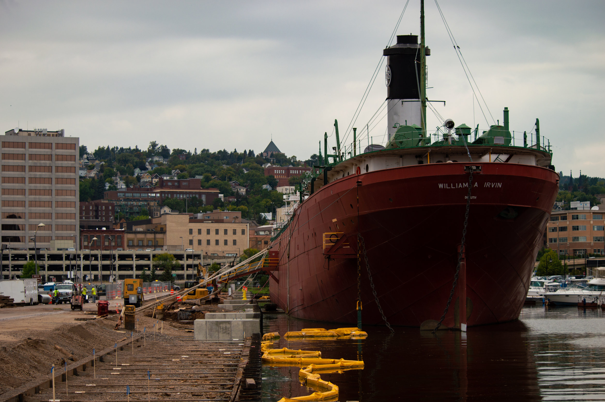 The William A. Irvin undergoing construction on Sept. 14, 2018. The polluted water by the ship does not flow very well, according to Irvin Manager Alexis Archambeau. Photo by Jake Barnard