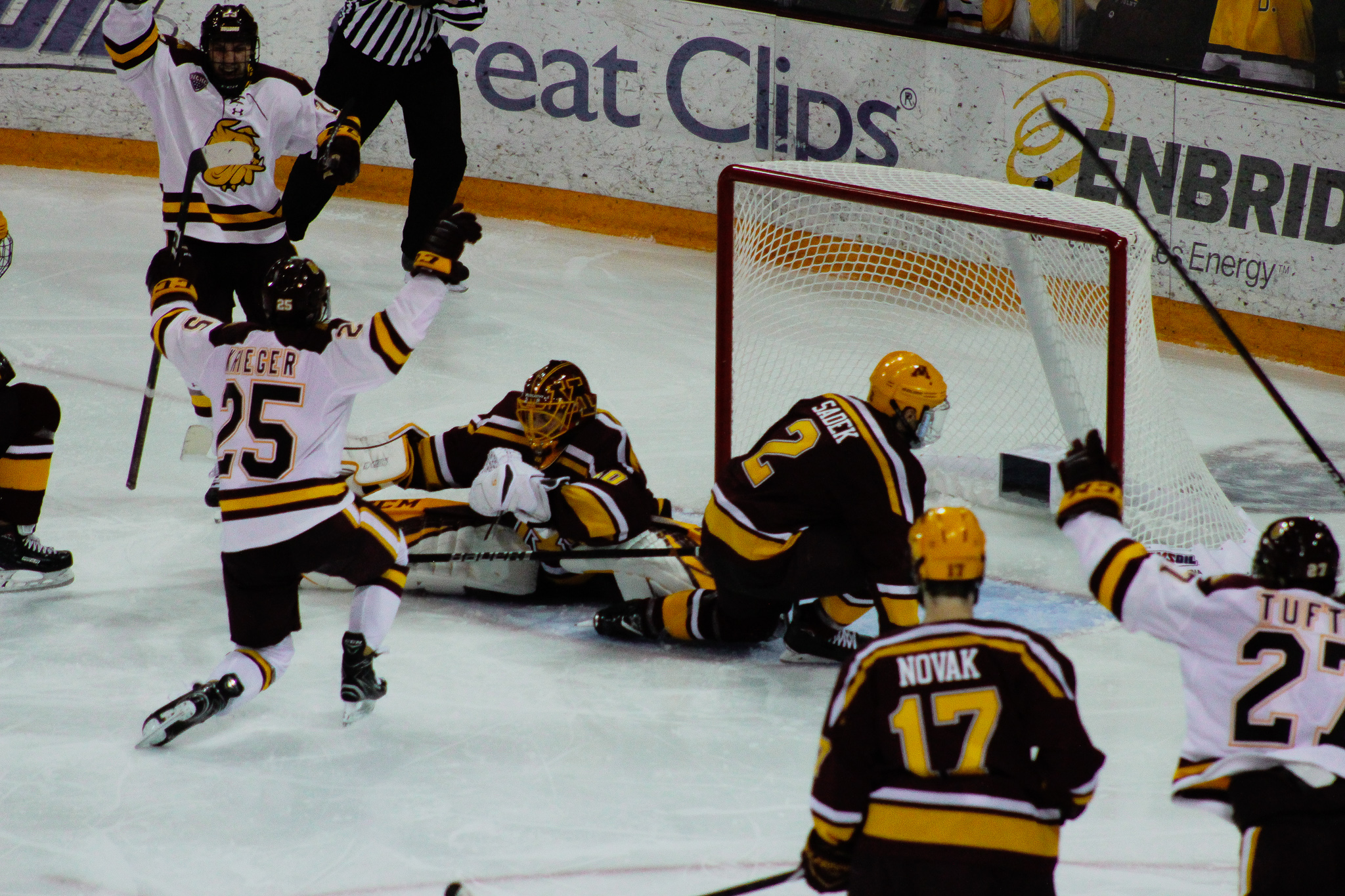 Peter Krieger (25) tied the game at one with his power play goal early in the third period. Photo by: Morgan Pint.