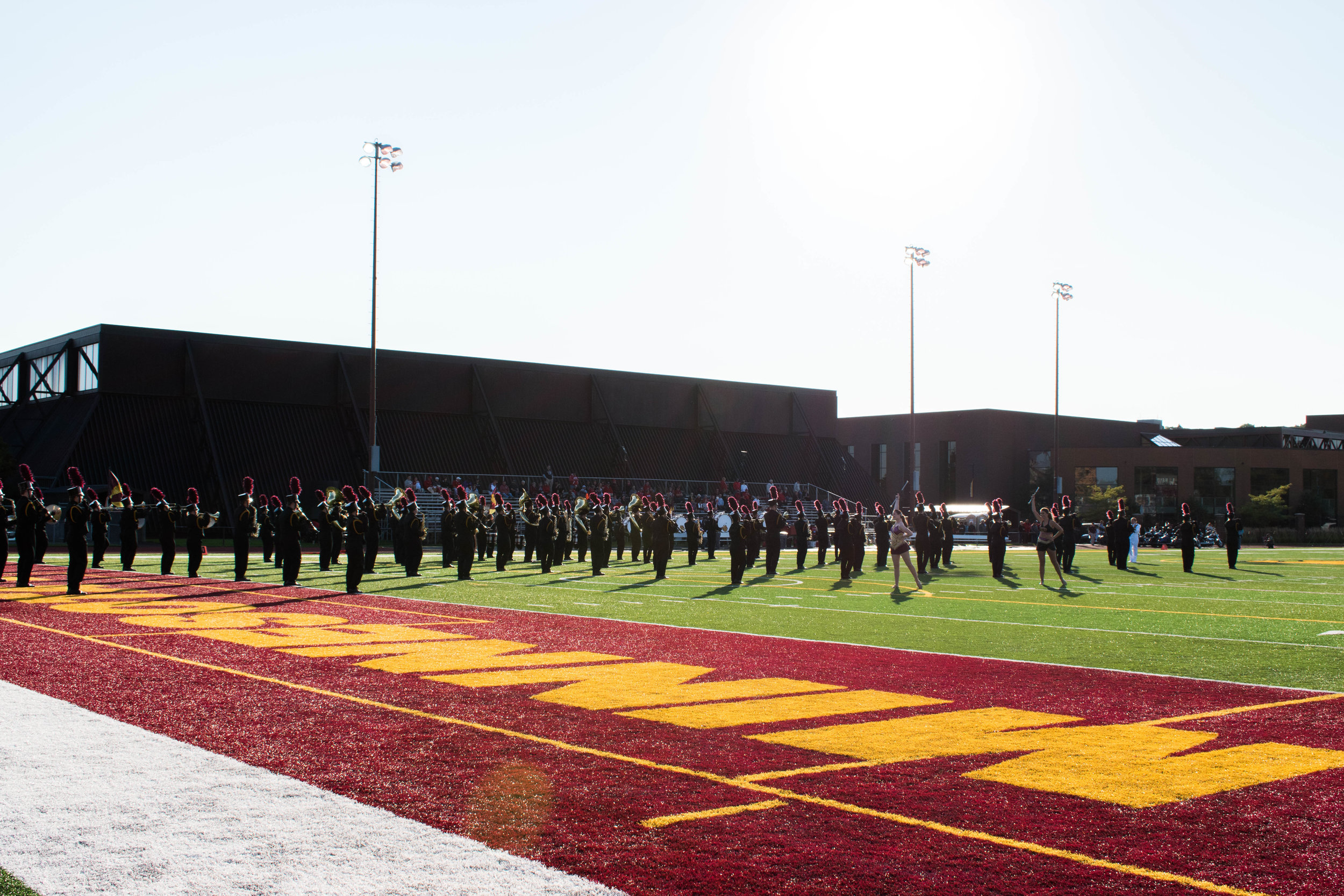 UMD Bulldog Marching Band taking the field at Malosky Stadium. Photo by Karli Kruse
