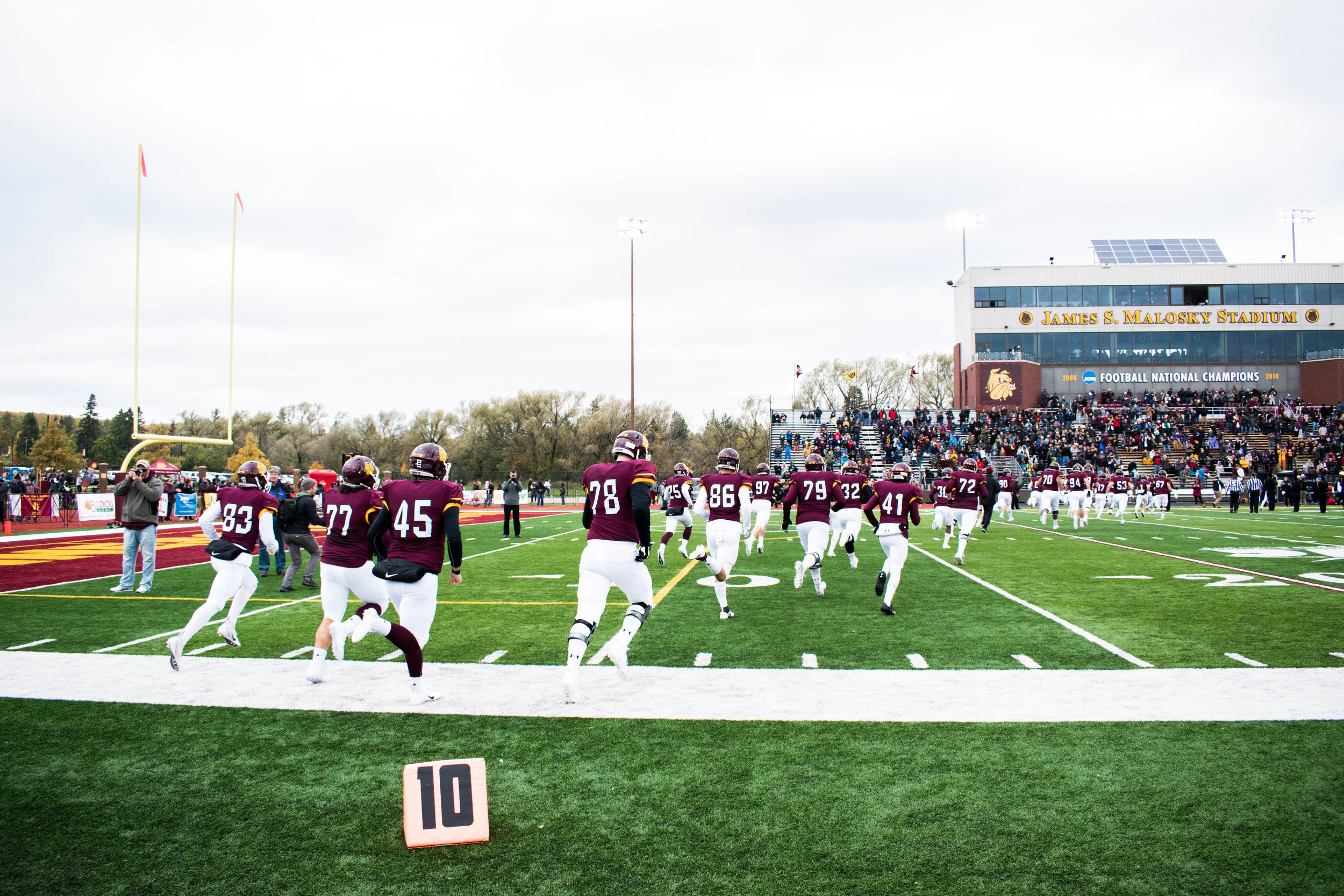 The Bulldogs take the field for Homecoming 2018. Photo by: Karli Kruse.