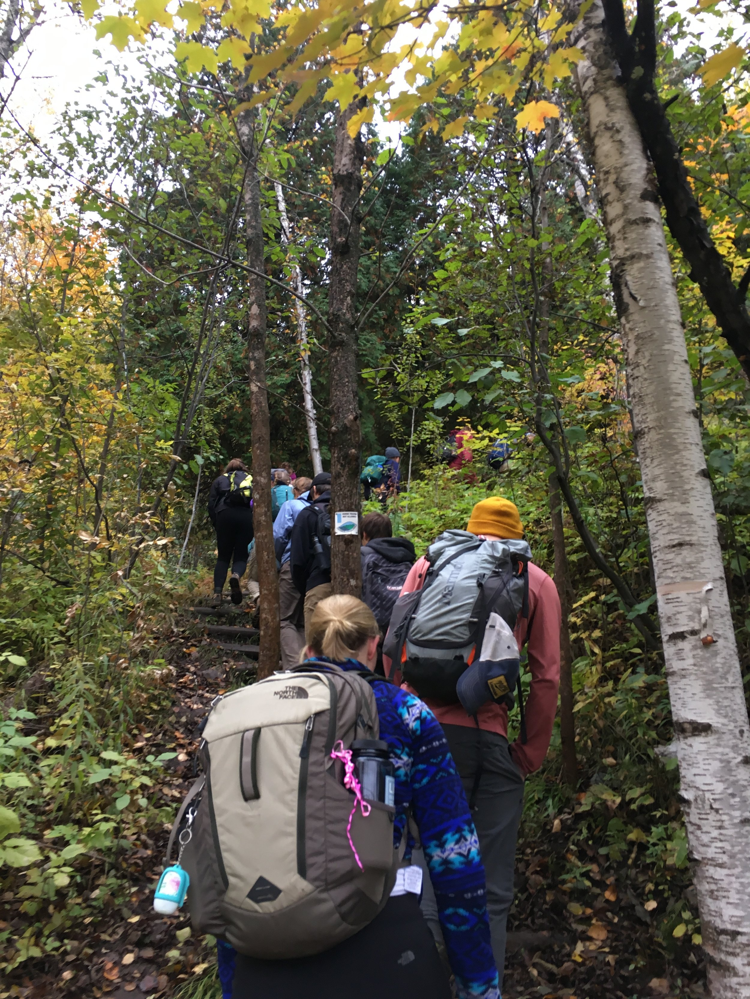 Group members hike the Superior Hiking Trail. Out of the 14 members that started only seven remained after the 15 hours. Photo courtesy of Juliana Olson