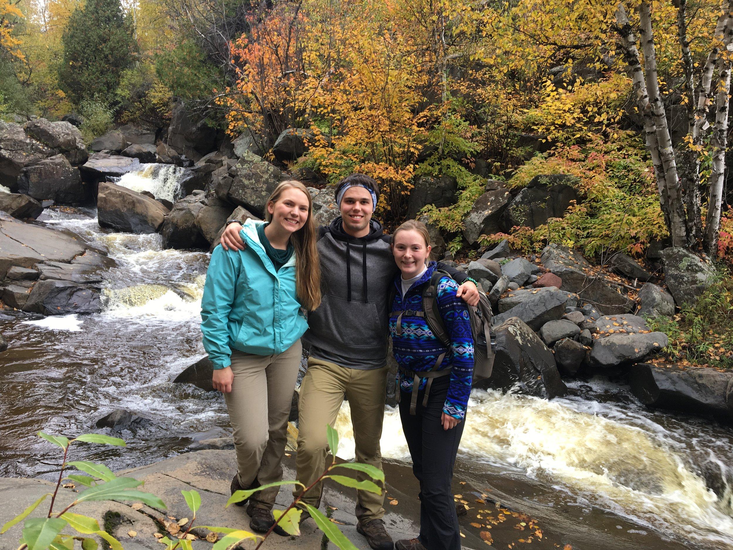 Leaders Juliana Olson and Sam Nesheim, with fellow hiker Abbey Graner. Photo courtesy of Juliana Olson