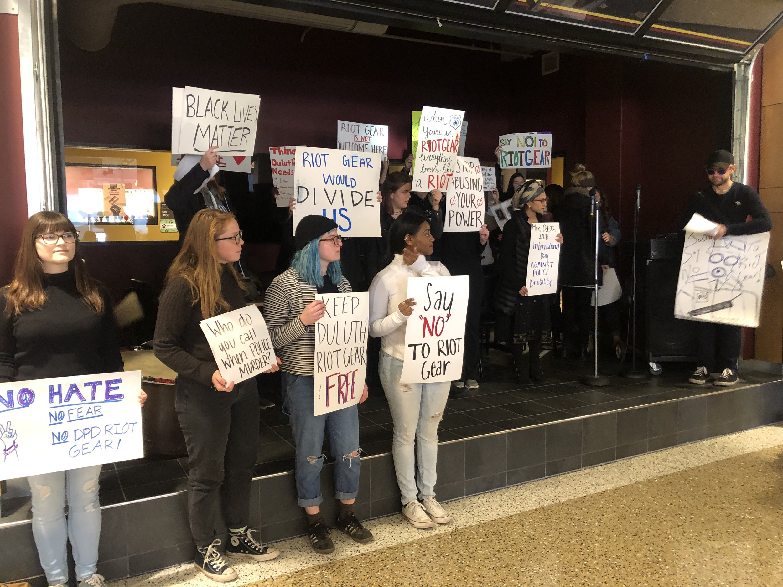 UMD students protest peacefully at the garage in the Kirby Student Center. Photo by Zack Benz