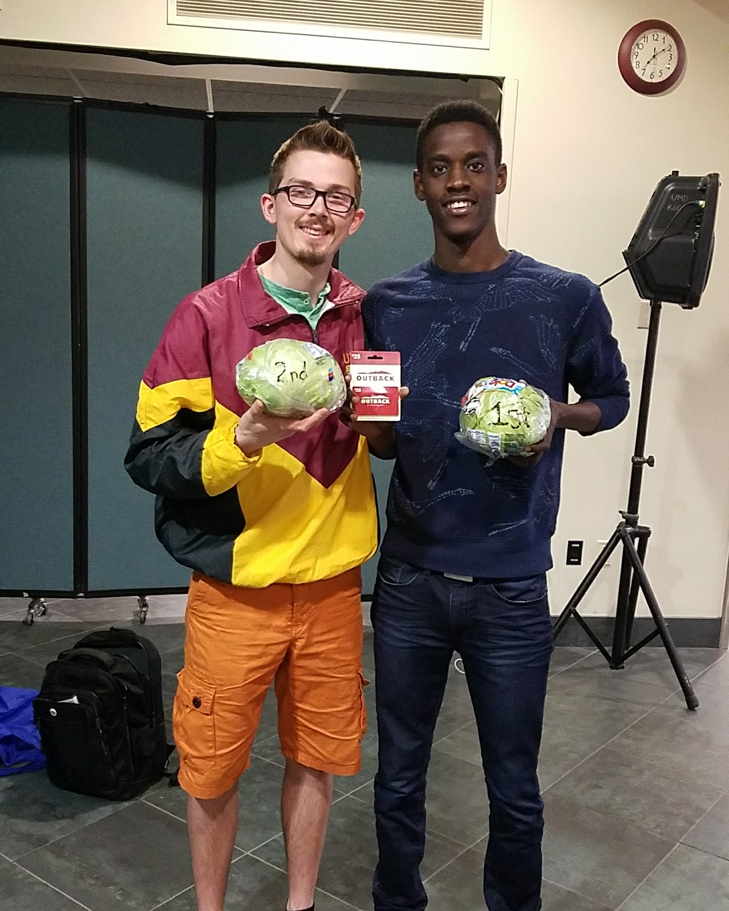 Andrew Weisz (left), second place winner of last year's Lettuce Club eating competition, and Kofi Austin (right), winner of last year's competition, on April 27, 2018. Austin is no longer a UMD student so the title, Head of Lettuce, went to Weisz. Photo courtesy of Austin Weisz