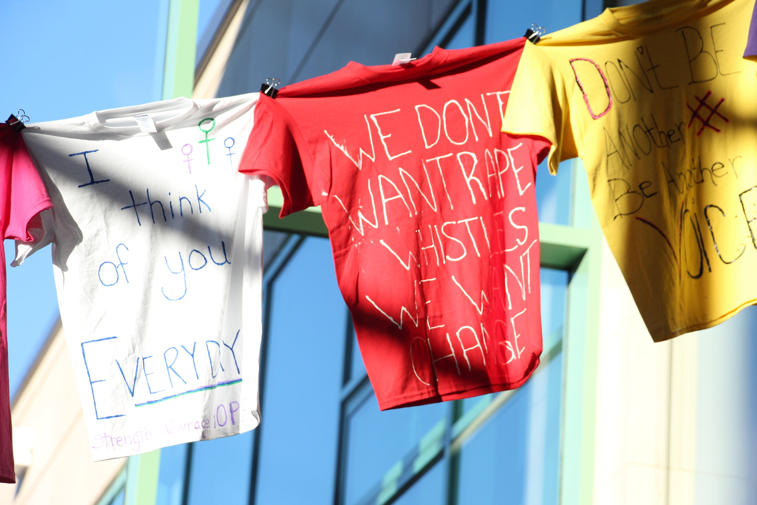 Each T-shirt has a story behind it. The T-shirts are part of an effort to encourage students to have conversations about these issues. Photo by Ren Friemann