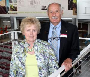 Jim Swenson is pictured in the Swenson Civil Engineering Building next to his wife, Susan Swenson. Photo courtesy of SCSE