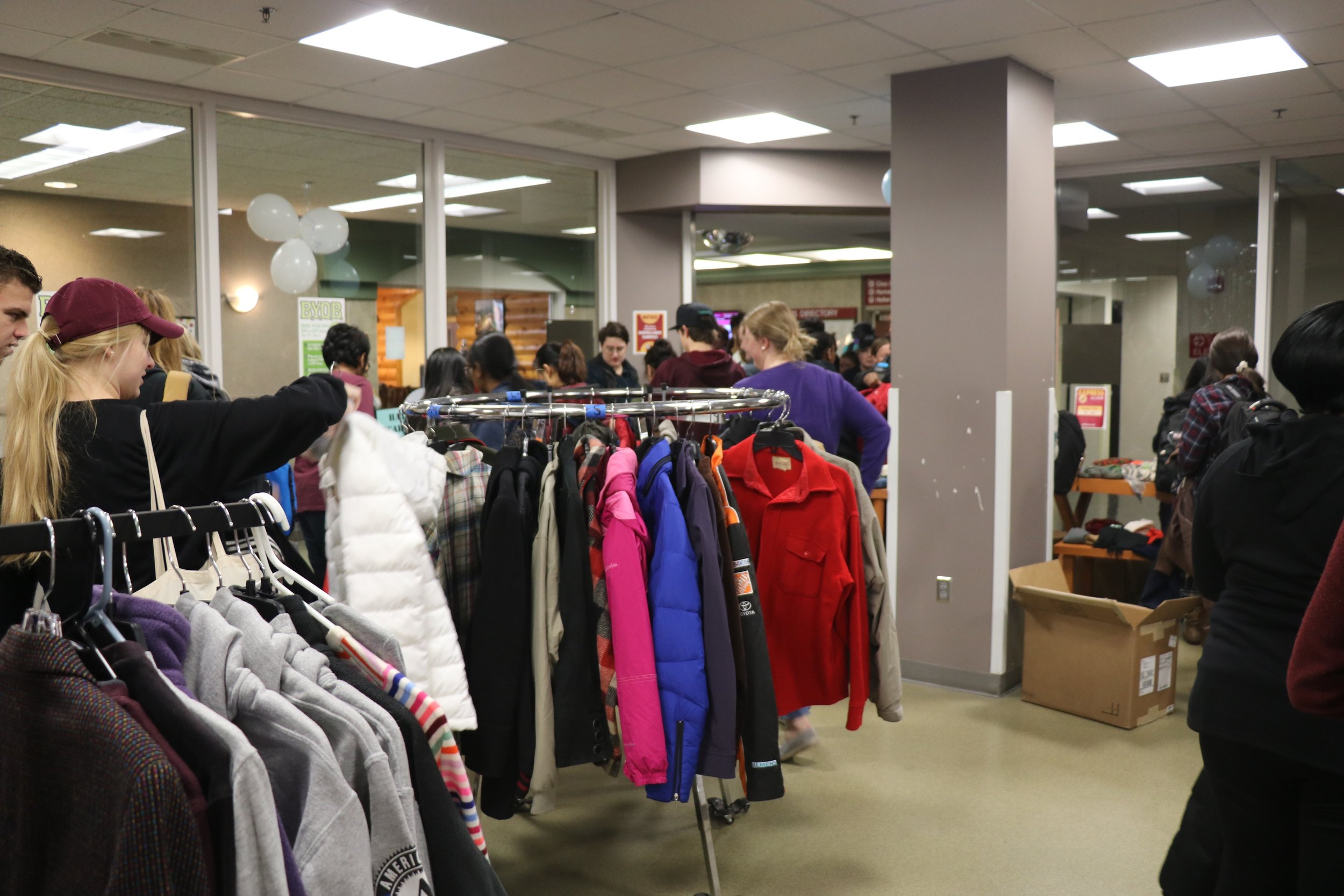 The Free Store located in the UMD Express Store on Nov. 1, 2018. Students got there before it started at 3 p.m. to ensure they would be able to choose three free winter items. Photo by Rebecca Kottke