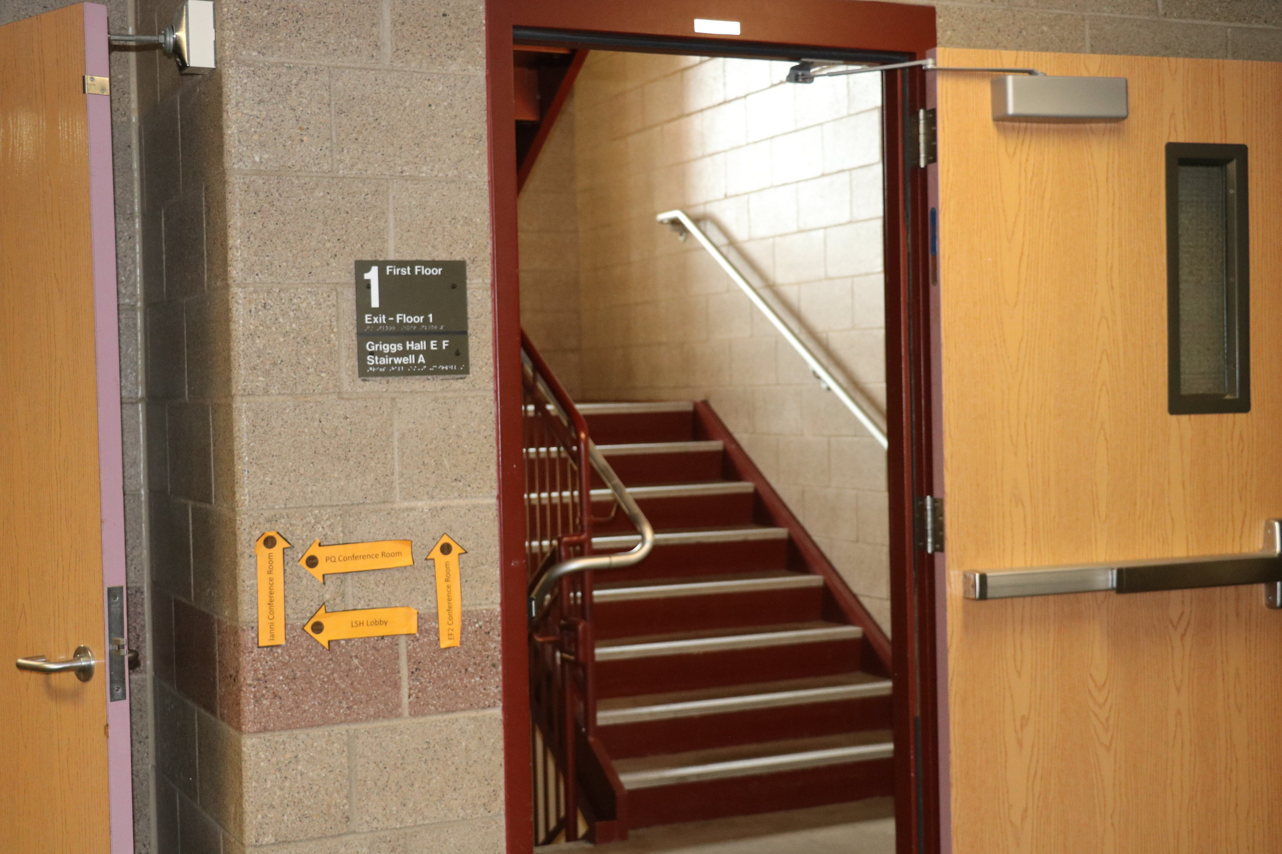 Griggs EF staircase where the image was found. Photo by Trinh Tran