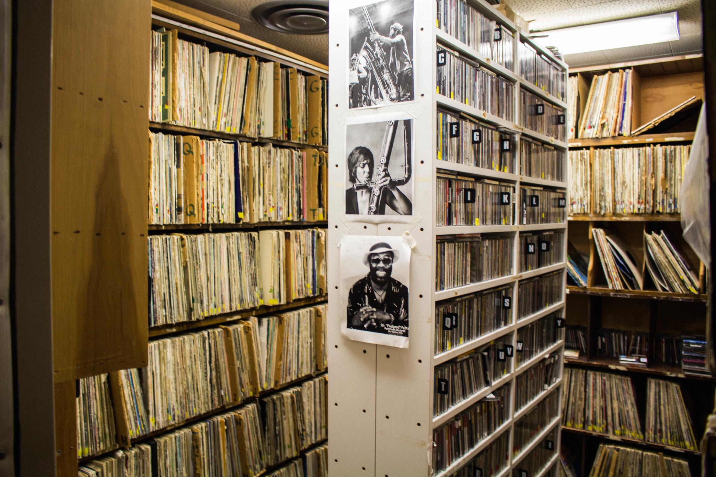 Storage room holding vinyl records in the KUMD studio. Photo by Justin Flesher
