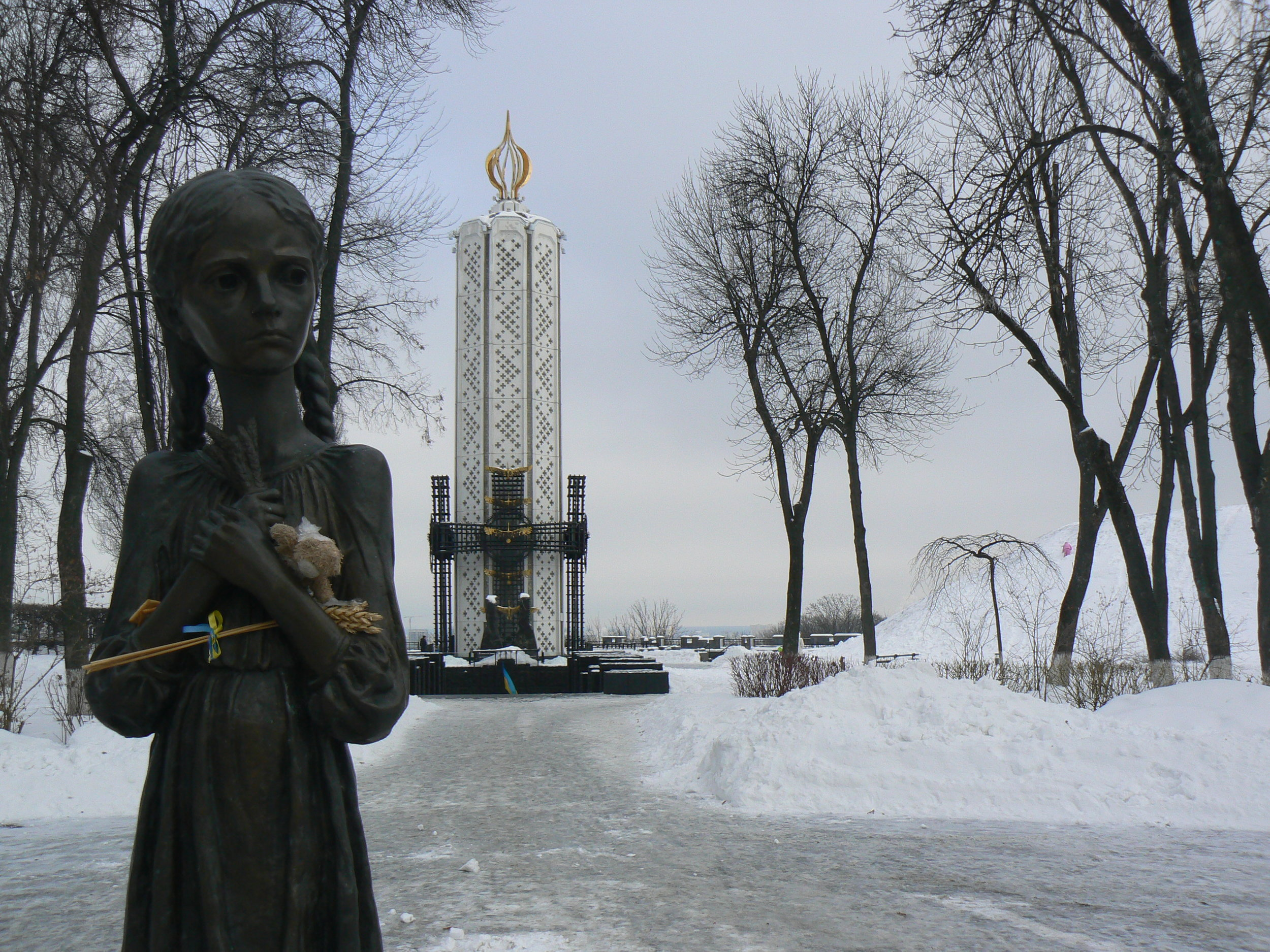 """Statue known as """"Bitter Memory of Childhood"""" outside of the National Museum commemorates the victims of Holodomor in Kiev. Photo courtesy of Wikimedia Commons"""