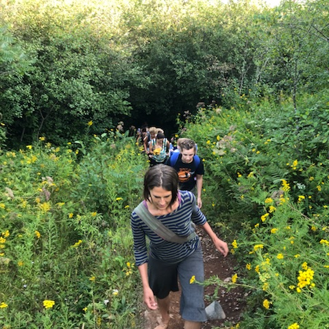 A group of women and some of their children hiking at Hartley Nature Center on Aug. 21, 2018. Women Hike Duluth encourages women to bring their kids to get them involved with the outdoors too. Photo courtesy of Jessica Schoonover