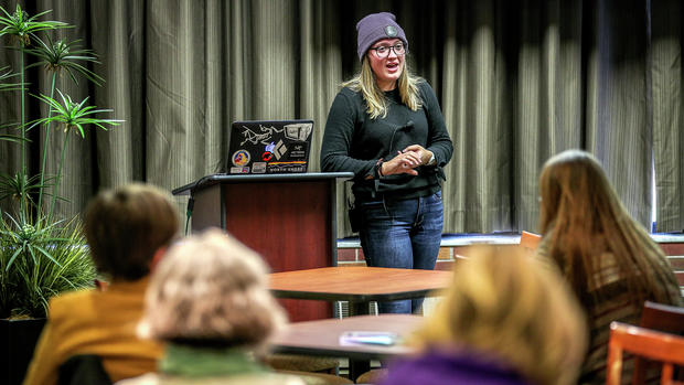 Lizze Easter giving a bystander intervention presentation during consent week. Photo courtesy of Clint Austin