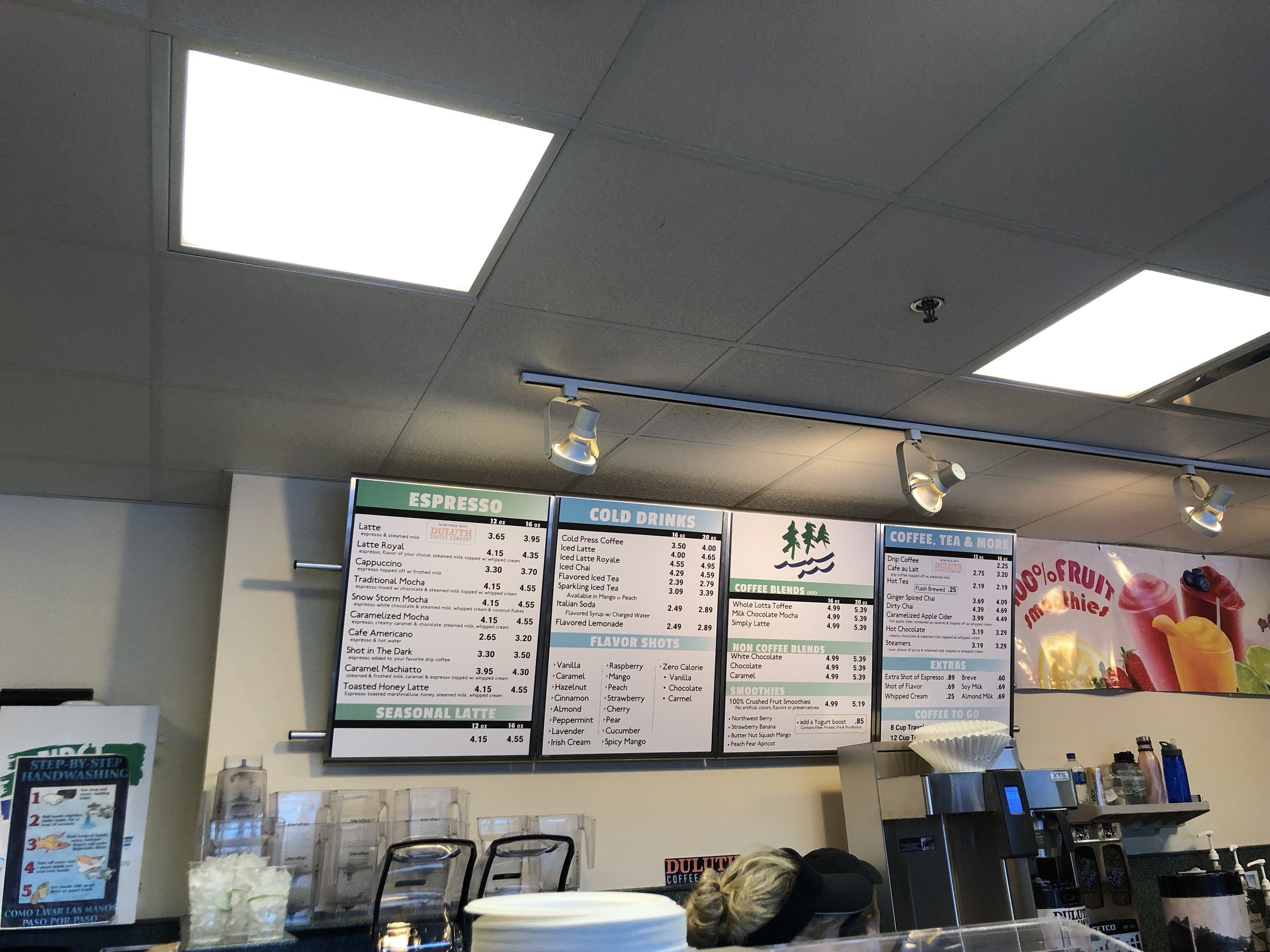 The menu was updated and replaced at Northern Shores Coffee. Photo by Samantha Church