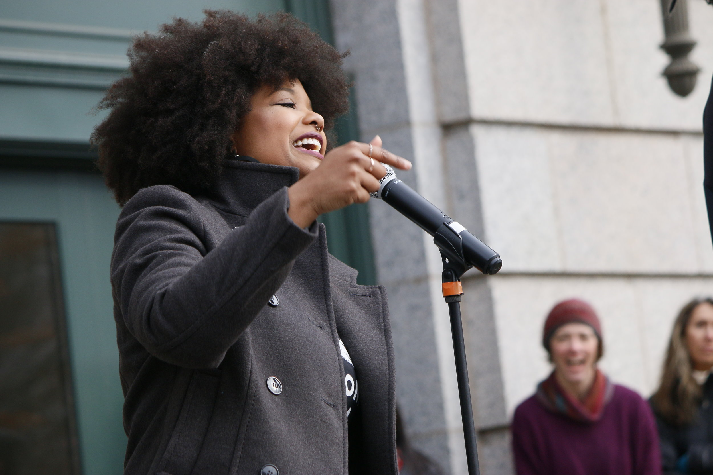 Terresa Moses speaking at the 2018 women's march. Photo courtesy Ivy Vainio