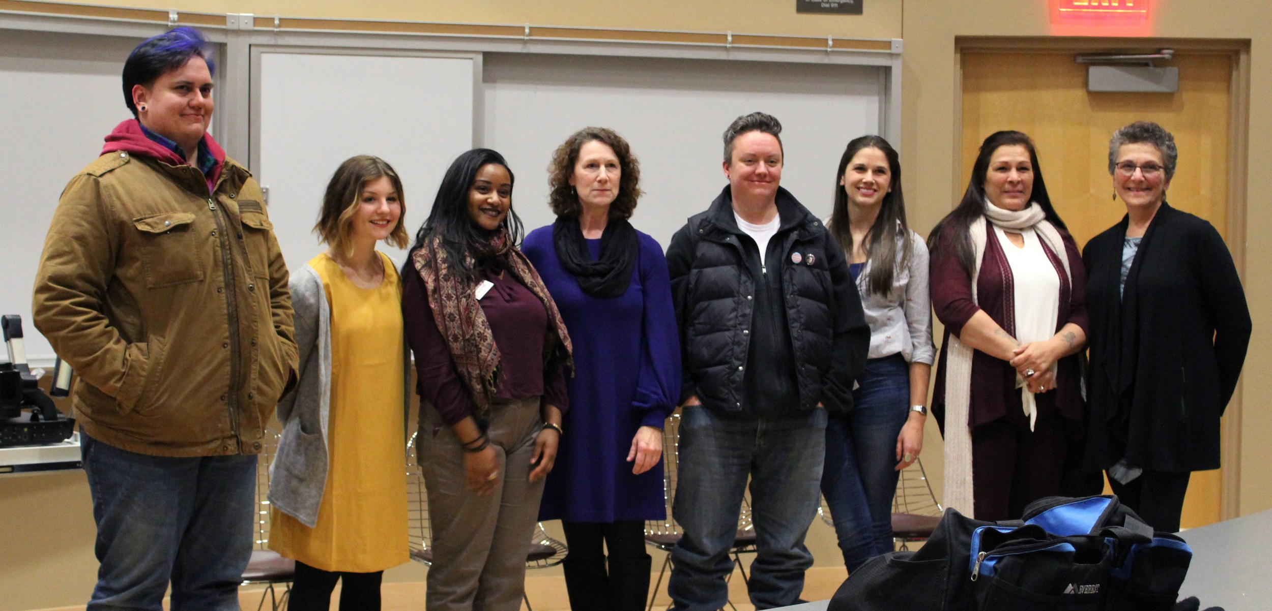 Event coordinators and community panelists from left to right: Makoons (Mak) Miller-Tanner, Megan Rabenberg, Persabelle Debela, Molly Harney, Ph.D., Sean Hayes, Niki Whittet, Rachel Goodsky, and Adele Yorde. Photo by Eema Ibrahim