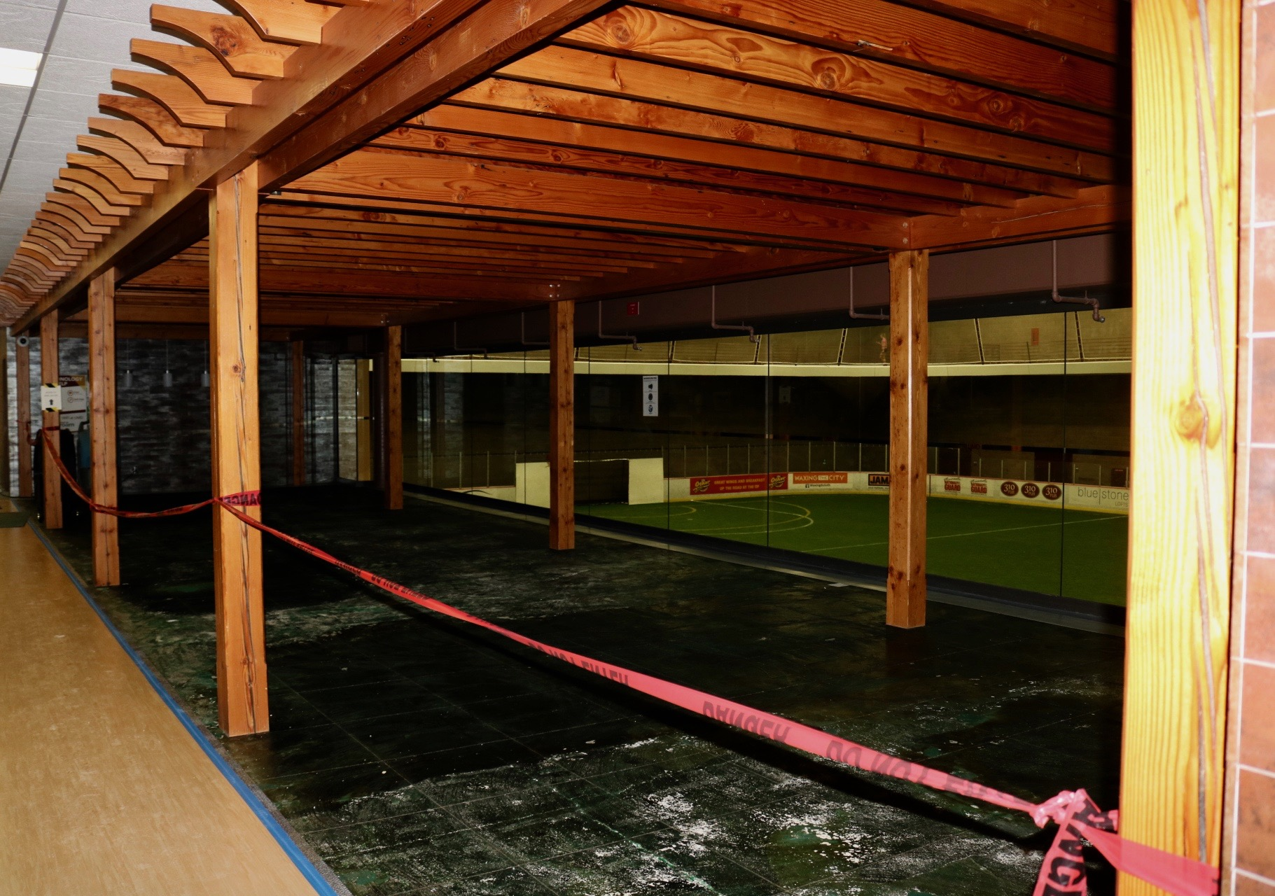 Carpeting in the ice rink study lounge had to be pulled for mold concerns. Photo by Madison Hunter