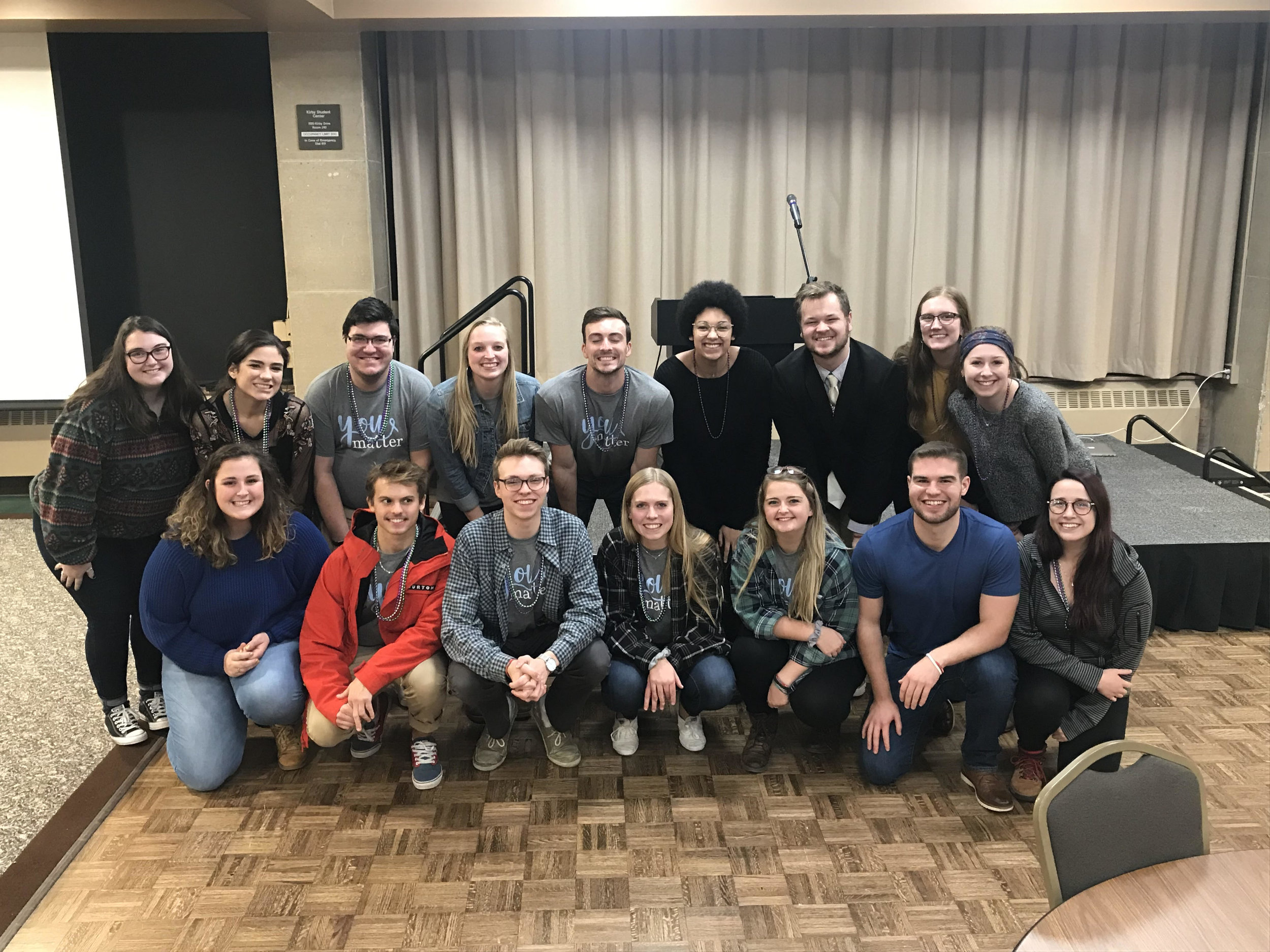Members of YOUmatter pose for a photo at one of their events dedicated to raising awareness for mental health. Photo courtesy of Kalynn Tilton