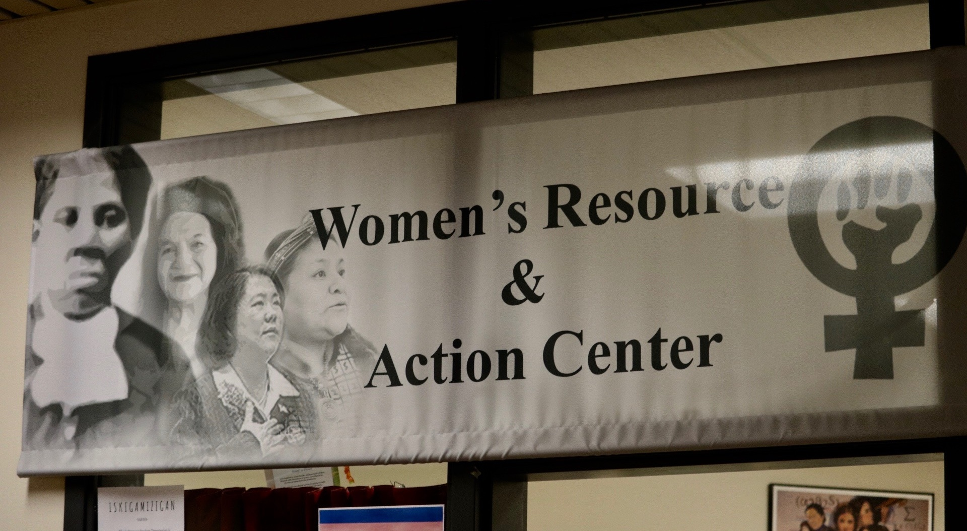 Banner for UMD's Women's Resource and Action Center. Photo by Madison Hunter