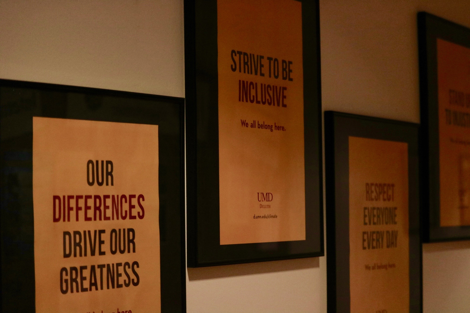 Signs encouraging diversity and inclusivity at UMD. Photo by Madison Hunter