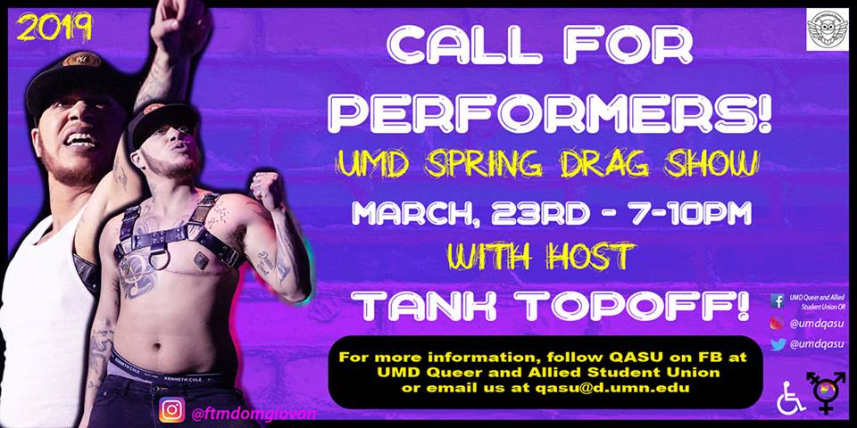 A call for performers for the Spring Drag Show, Photo Courtesy of QASU