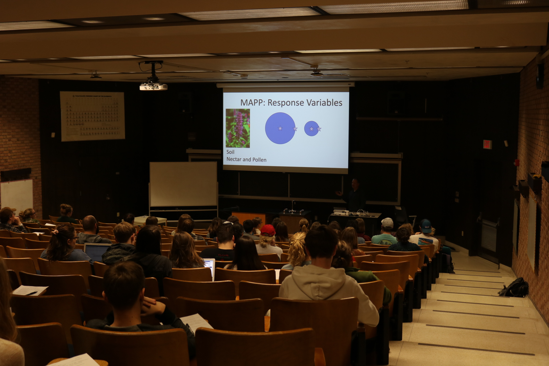 The seminar was held in Life Science 185. Photo by Madison Hunter.