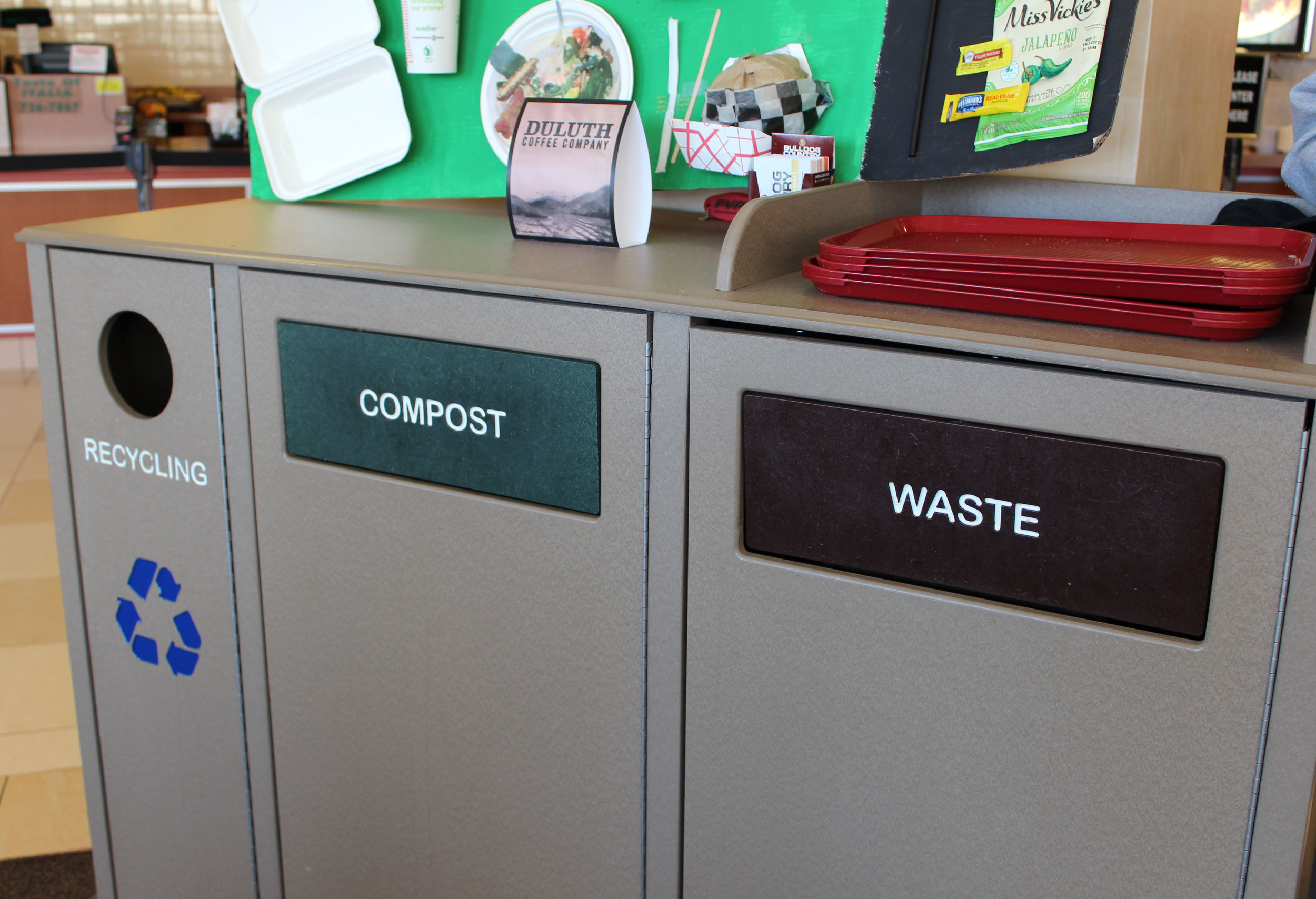 Recycling, compost, and waste bins in the Food Court, Photo Courtesy of Eema Ibrahim