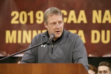 Head coach Scott Sandelin addressing the crowd. Photo by Drew Smith