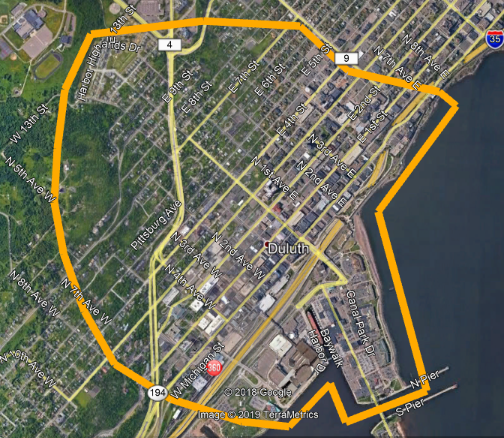 A satellite image of the preposed area for individual property searching provided by the Duluth Police Department