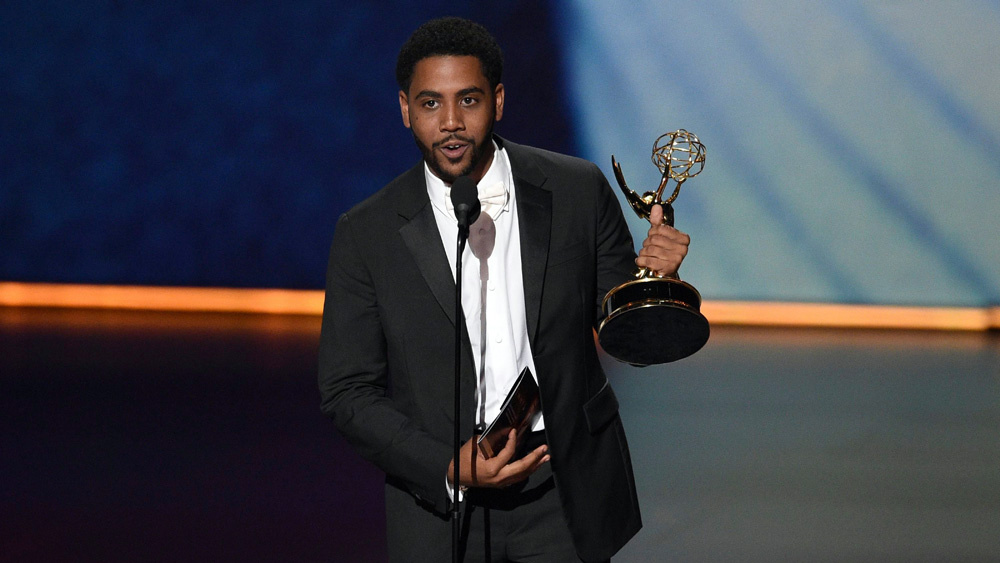 """Jharrel Jerome during his acceptance speech. Jerome won for Lead Actor in a Limited Series for """"When They See Us"""".  Photo Courtesy of Variety.com"""