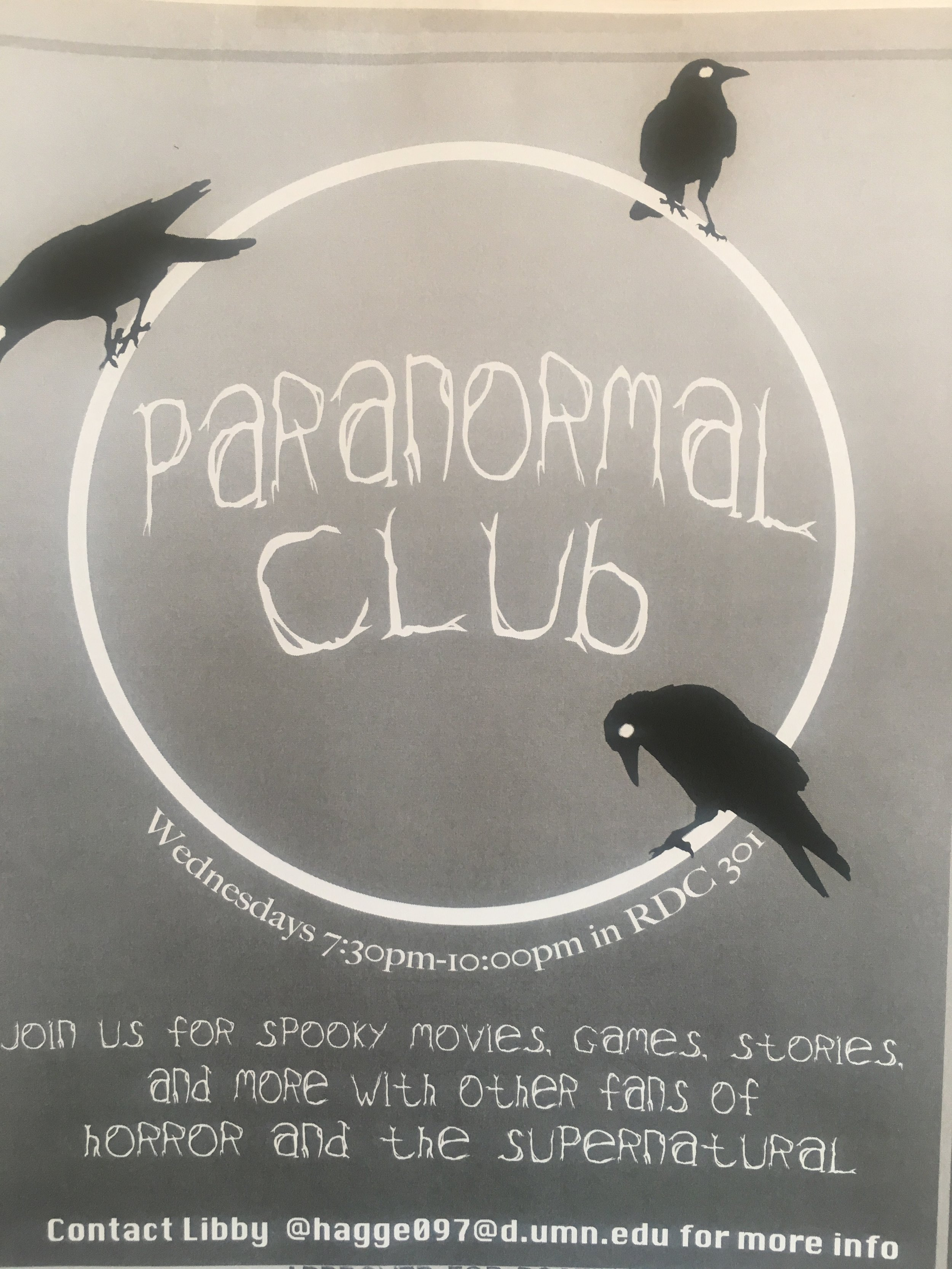 The Paranormal Club's flyer