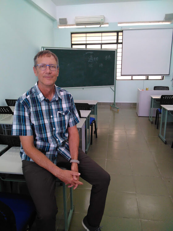 John Hatcher in his new classroom in Ho Chi Minh, Courtesy of John Hatcher
