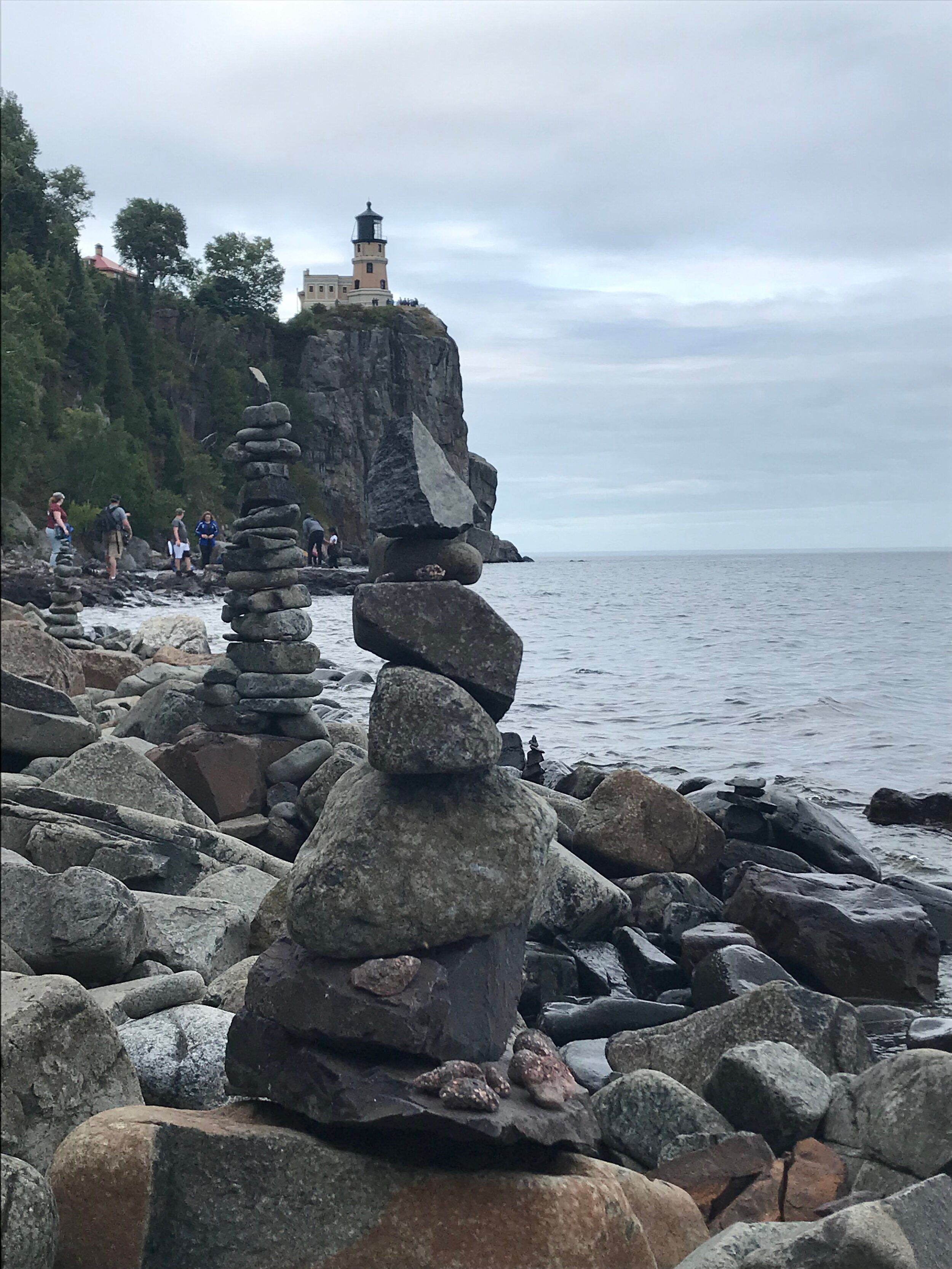 Cairns on the beach near Split Rock Lighthouse. Photo by Heidi Stang