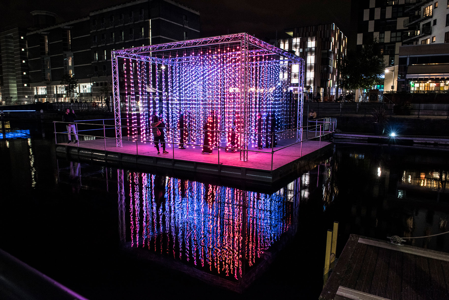 Light Night Leeds Festival:  'Light Water, Dark Sky' an immersive, floating,light installation by renowned international artists Squidsoup set to the track 'Unicorn' by the esteemed electronic musician Four Tet. Find out more...